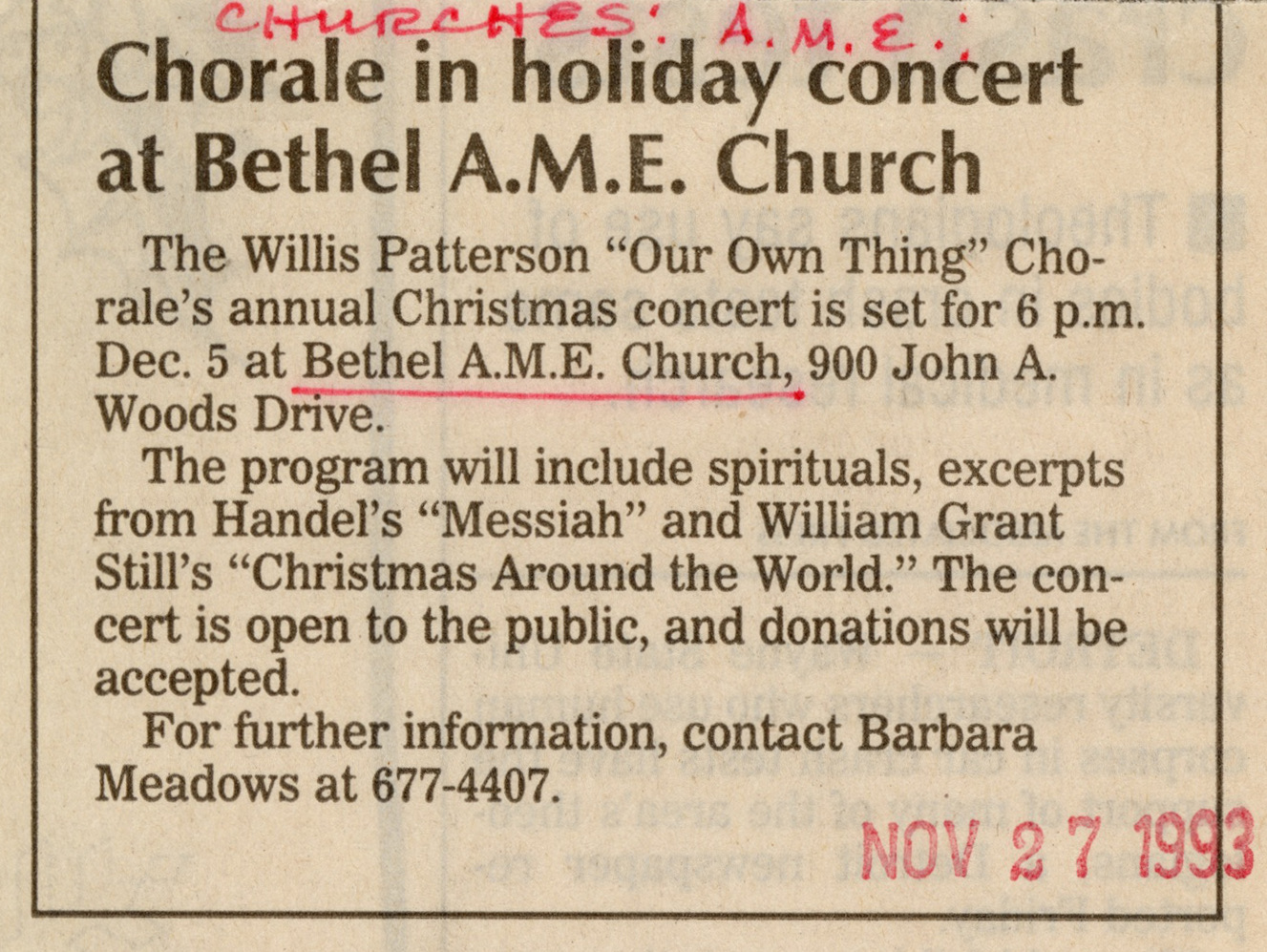Chorale in holiday concert at Bethel AME Church image