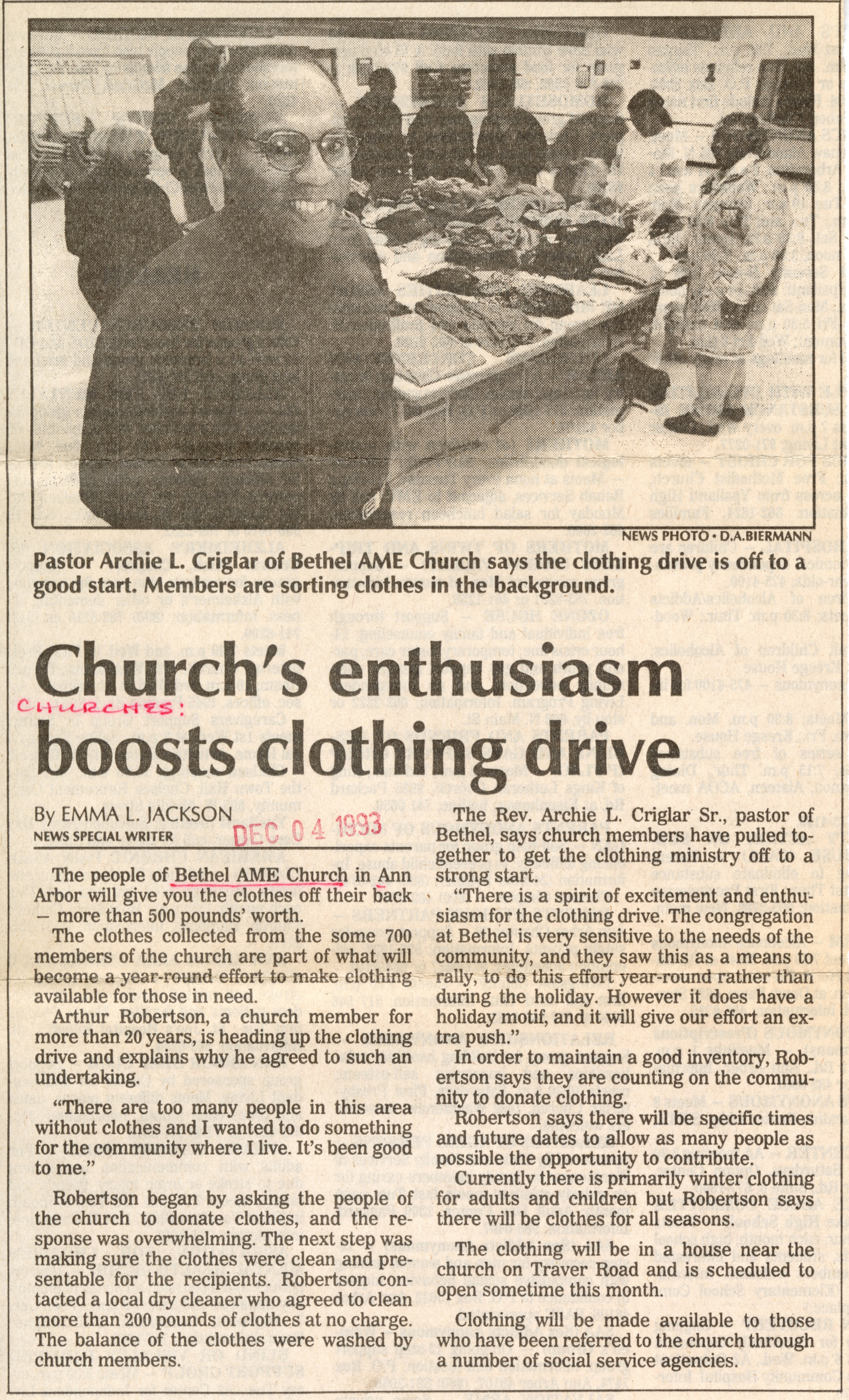 Church's enthusiasm boosts clothing drive image