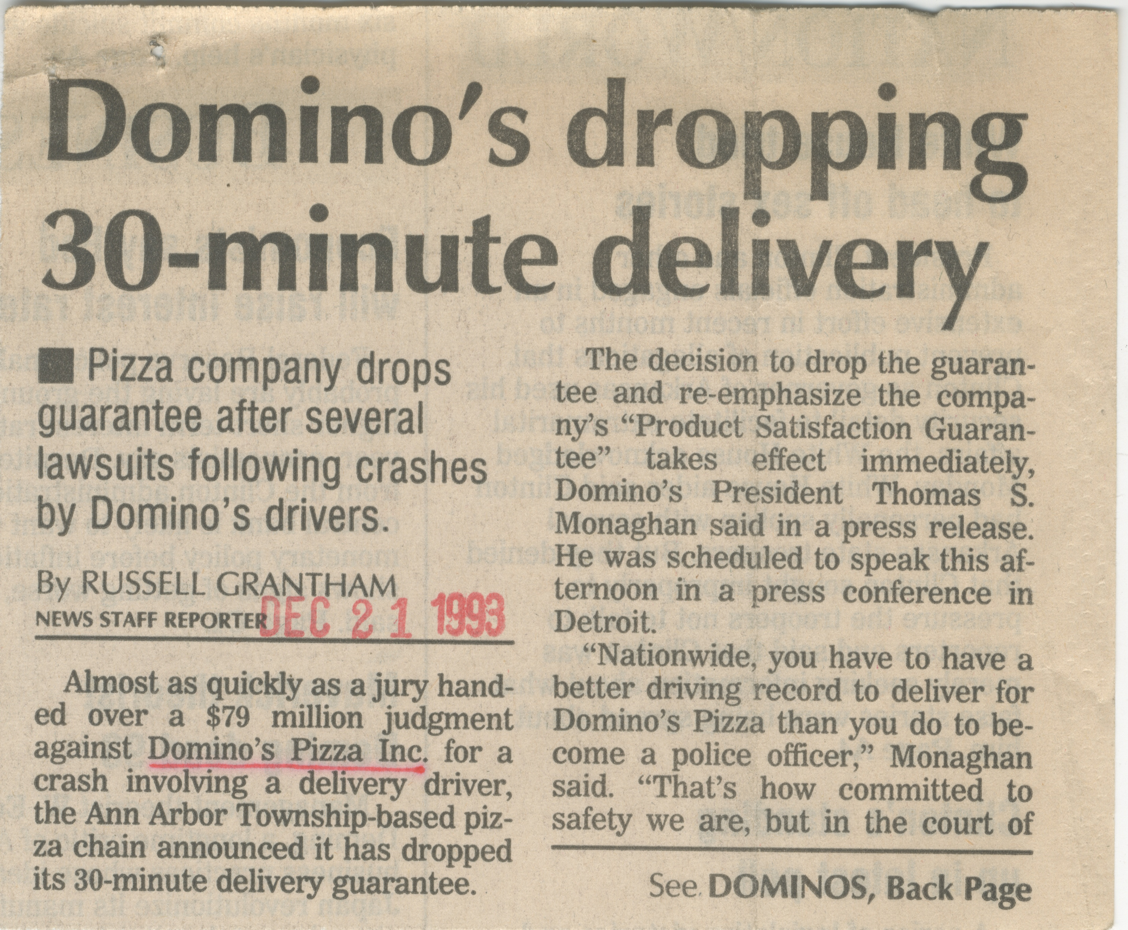 Domino's Dropping 30-Minute Delivery image