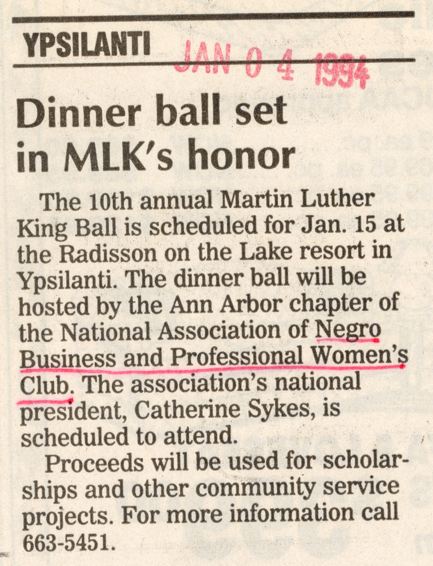 Dinner ball set in MLK's honor image