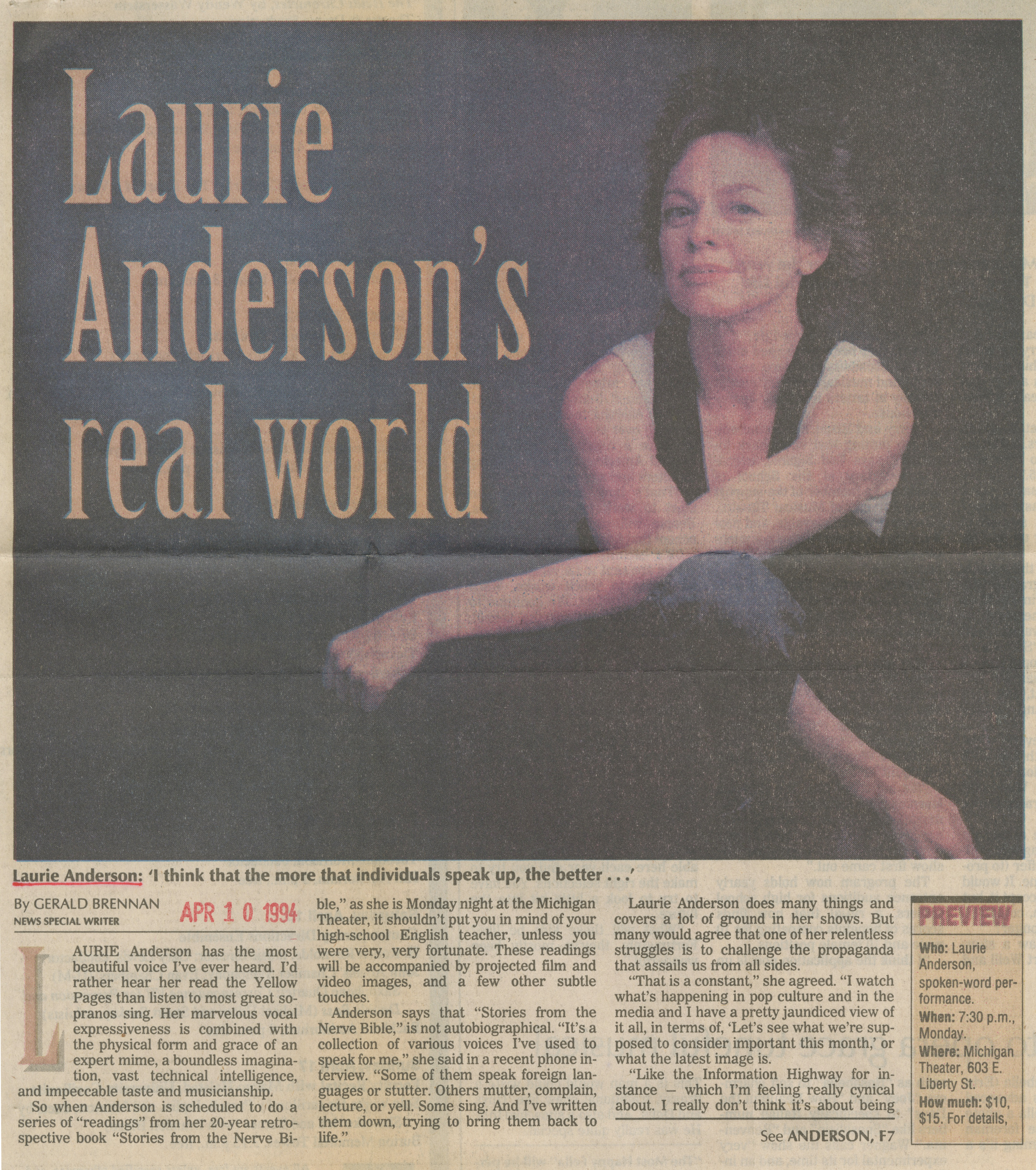 Laurie Anderson's real world image