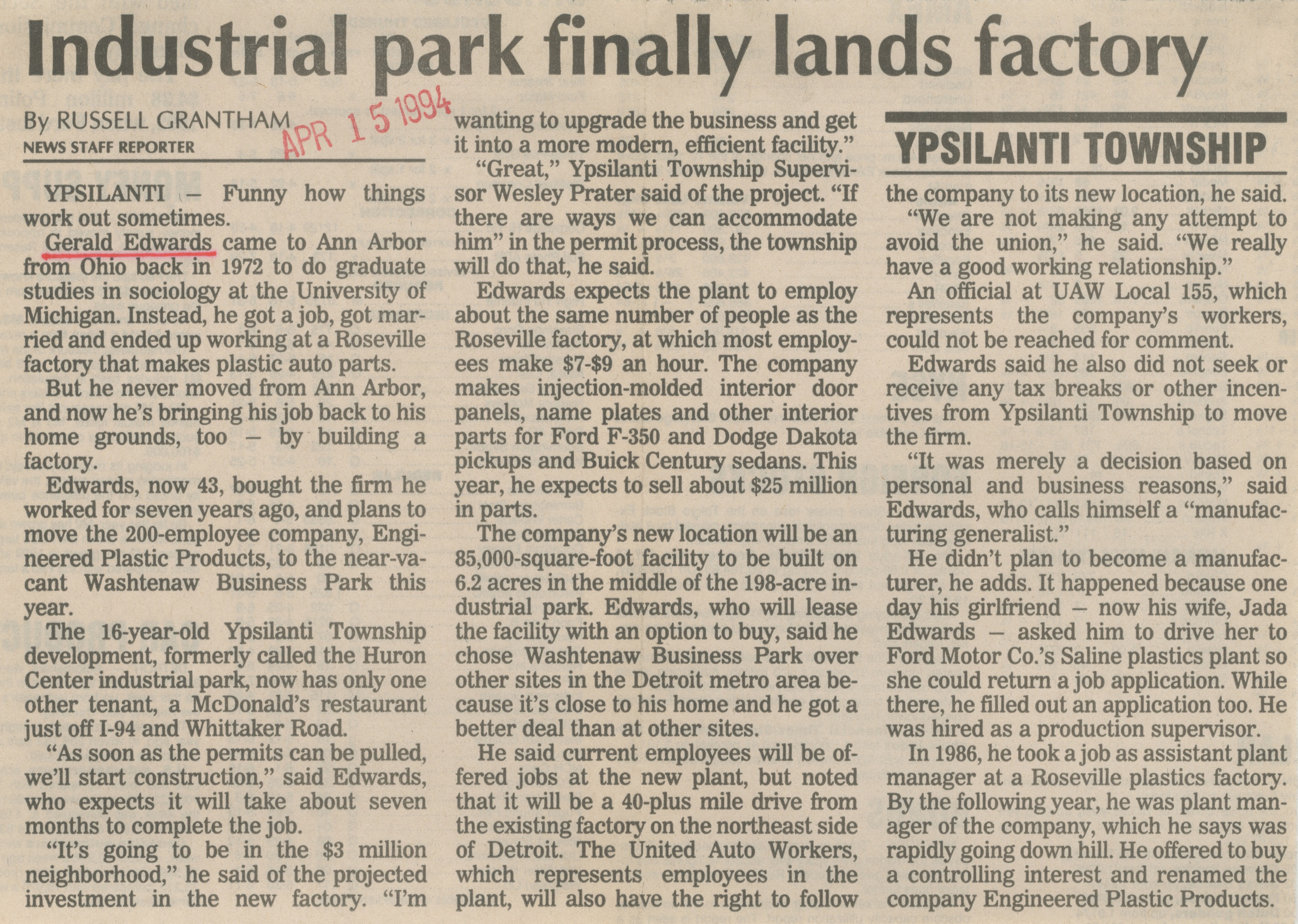 Industrial Park Finally Lands Factory image