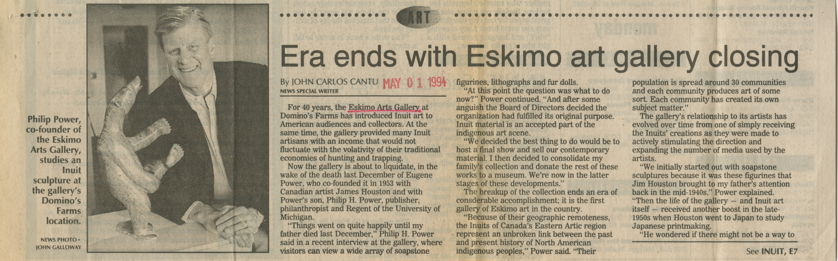 Era ends with Eskimo art gallery closing image