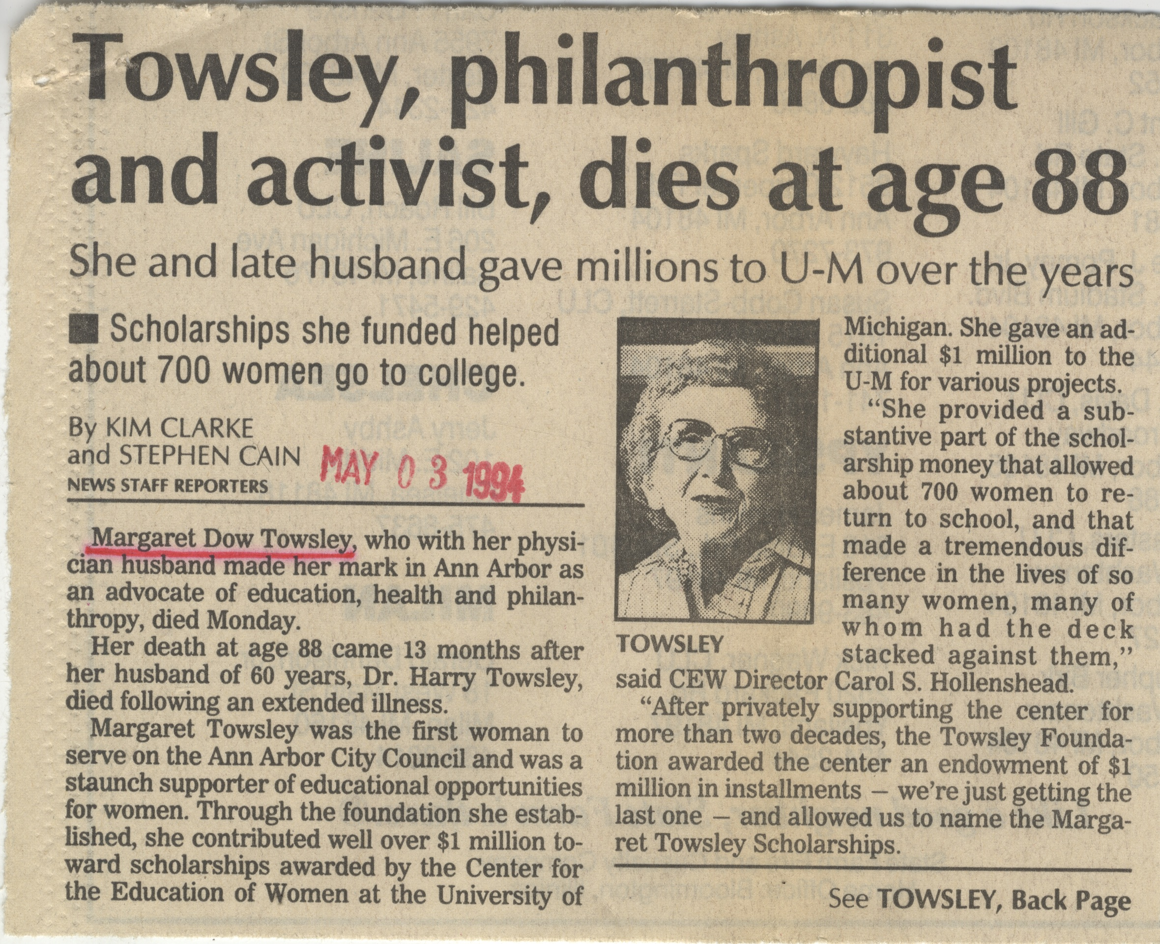 Towsley, philanthropist and activist, dies at age 88 image