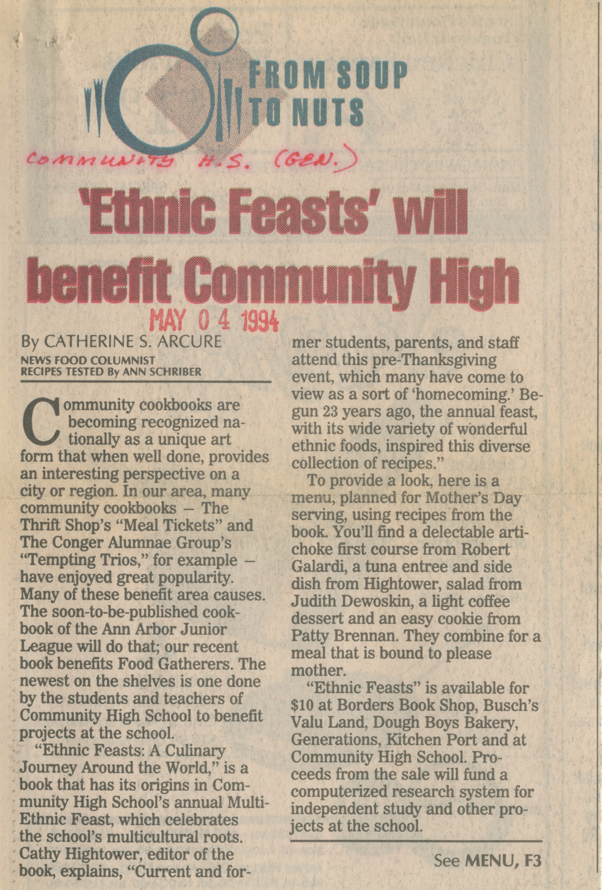 Ethnic Feasts will benefit Community High image