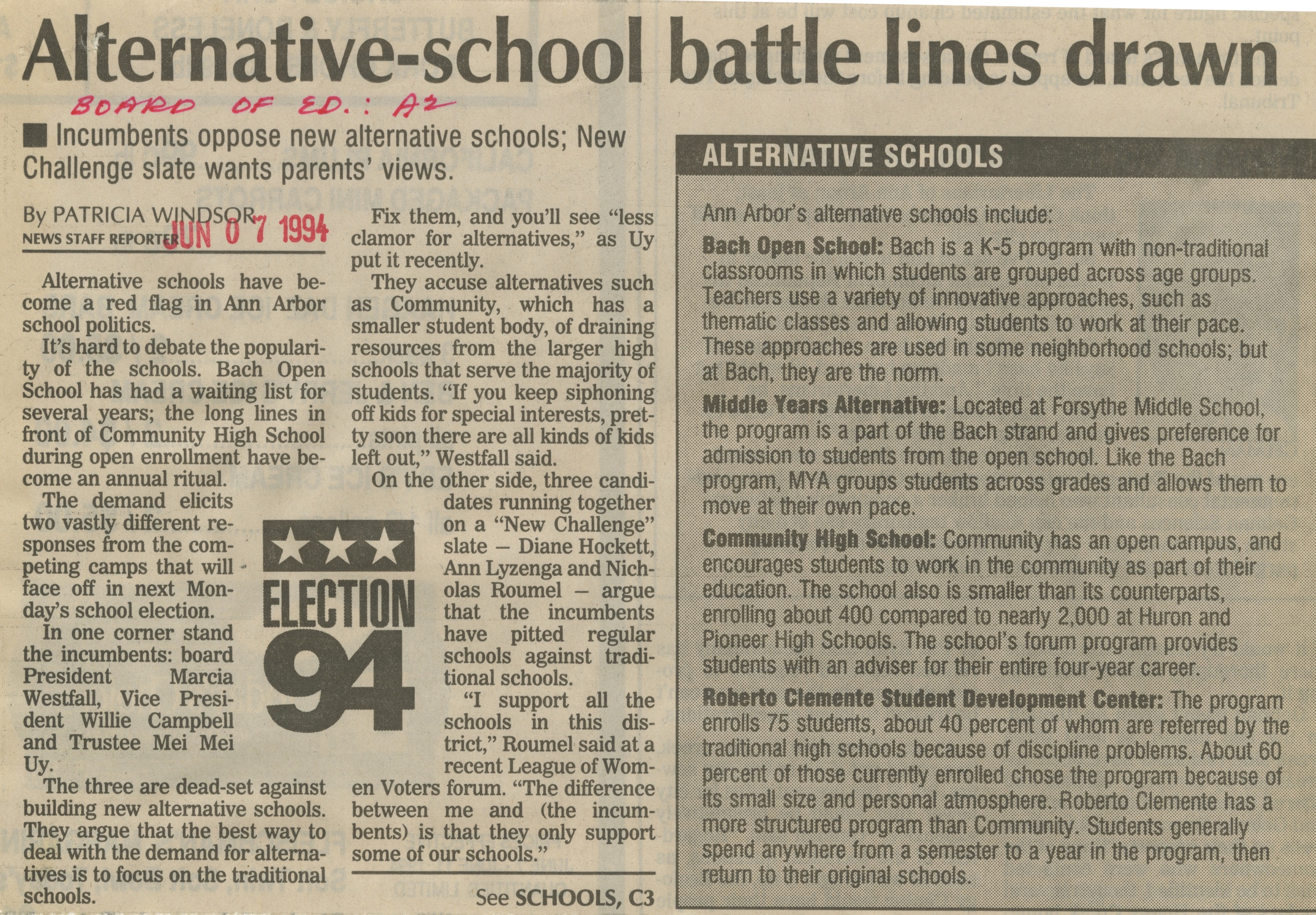 Alternative-school battle lines drawn image
