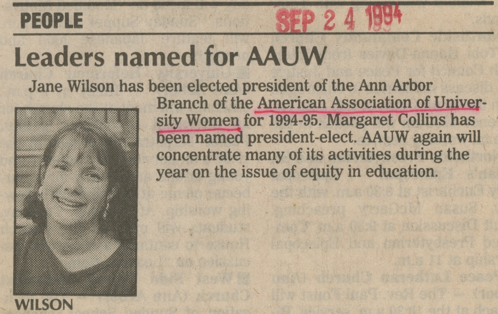 Leaders Named for AAUW image