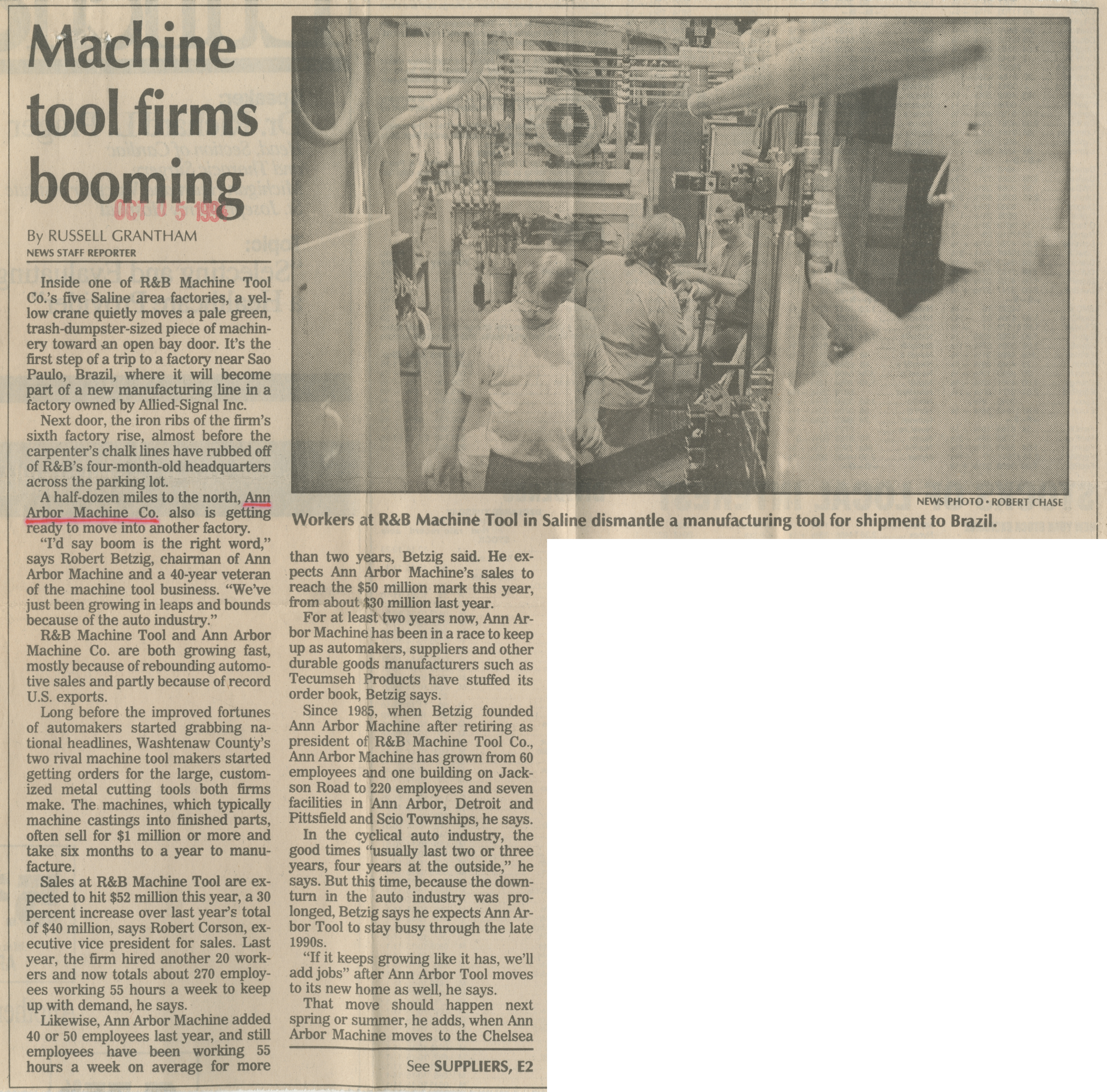 Machine tool firms booming image