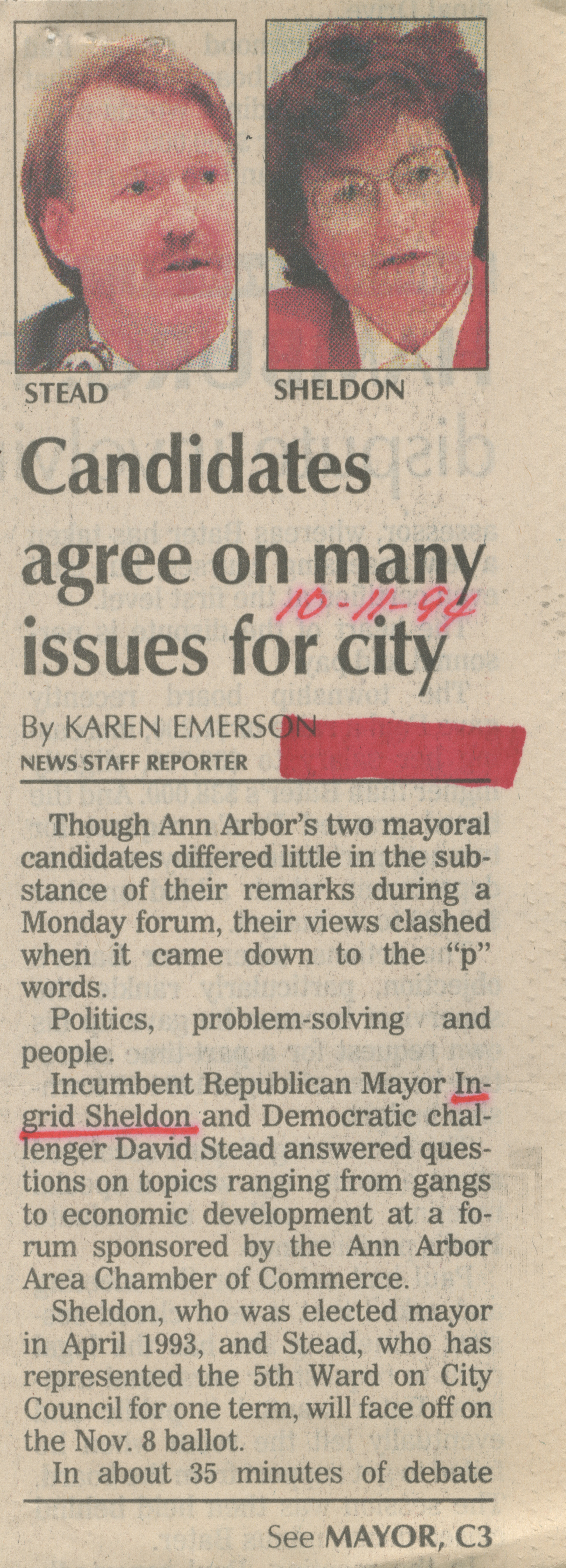 Candidates agree on many issues for city image