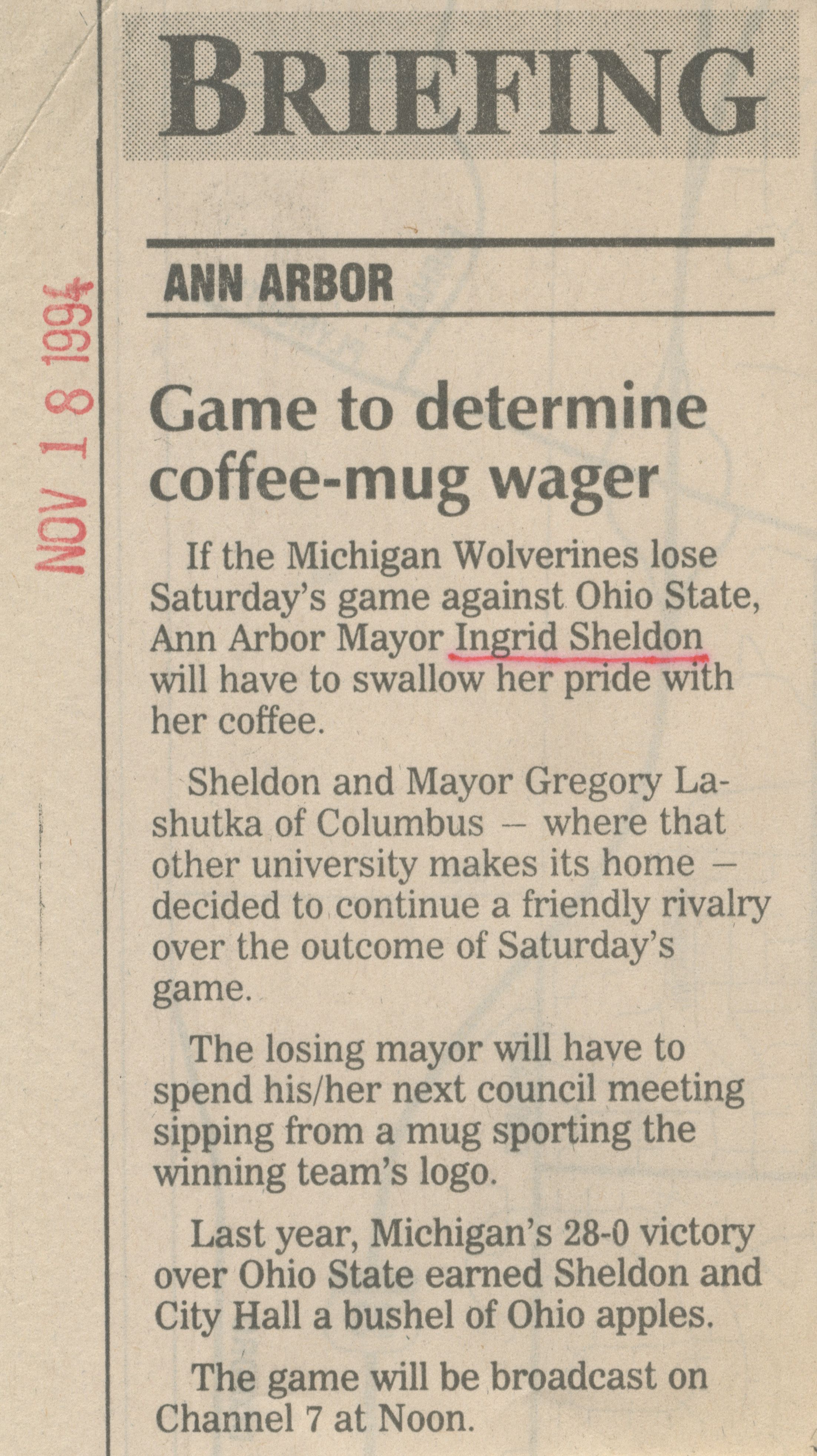 Game to determine coffee-mug wager image