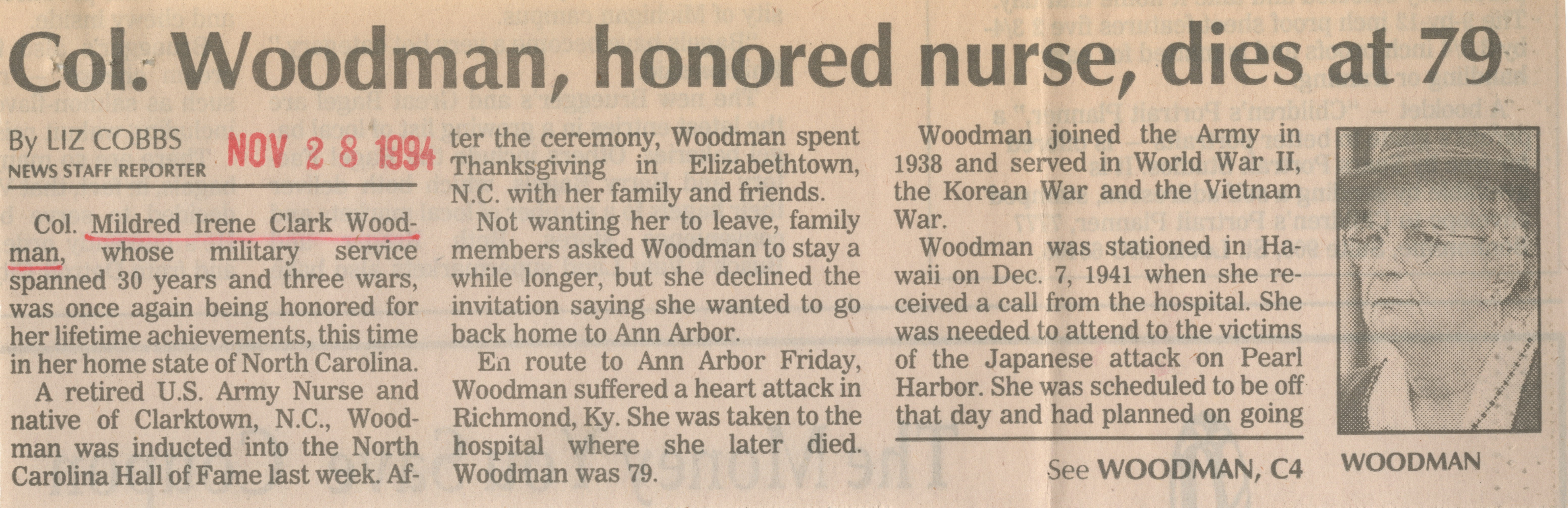 Col. Woodman, honored nurse, dies at 79 image
