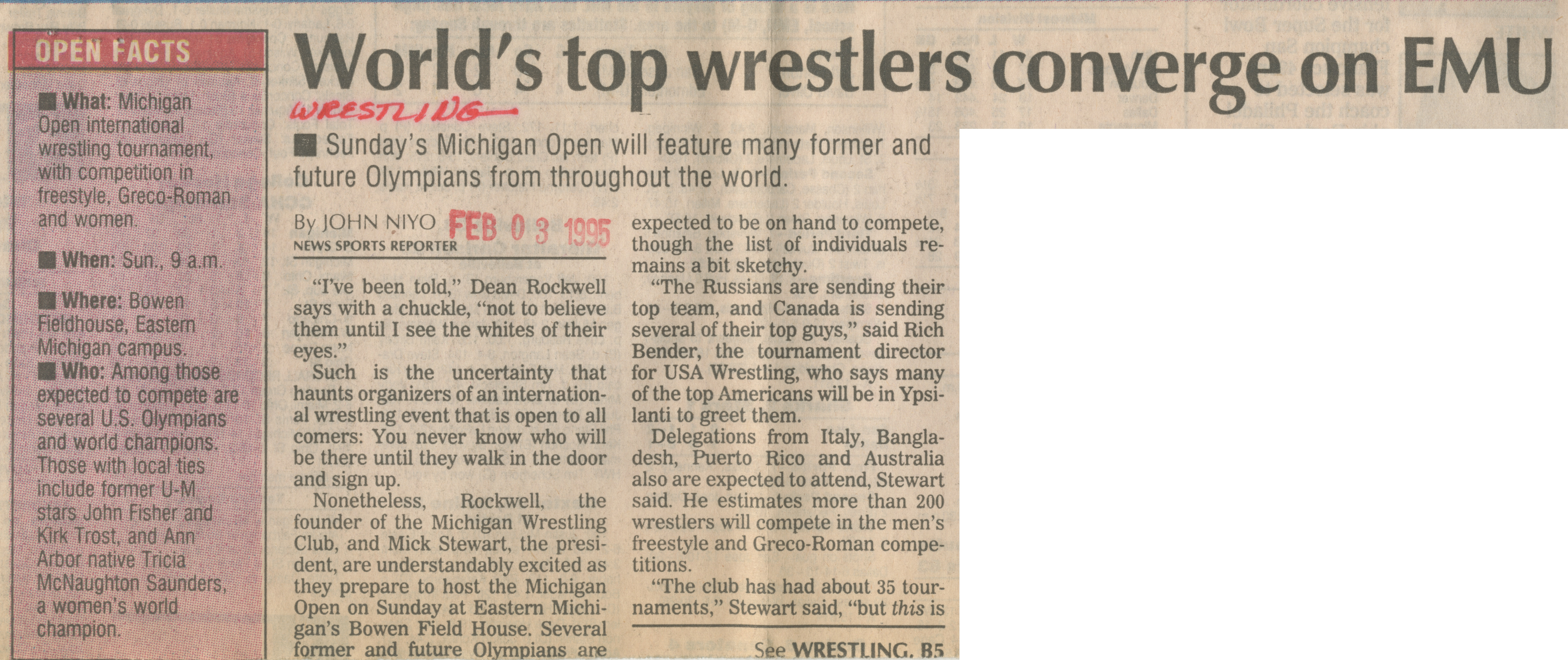 World's top wrestlers converge on EMU image