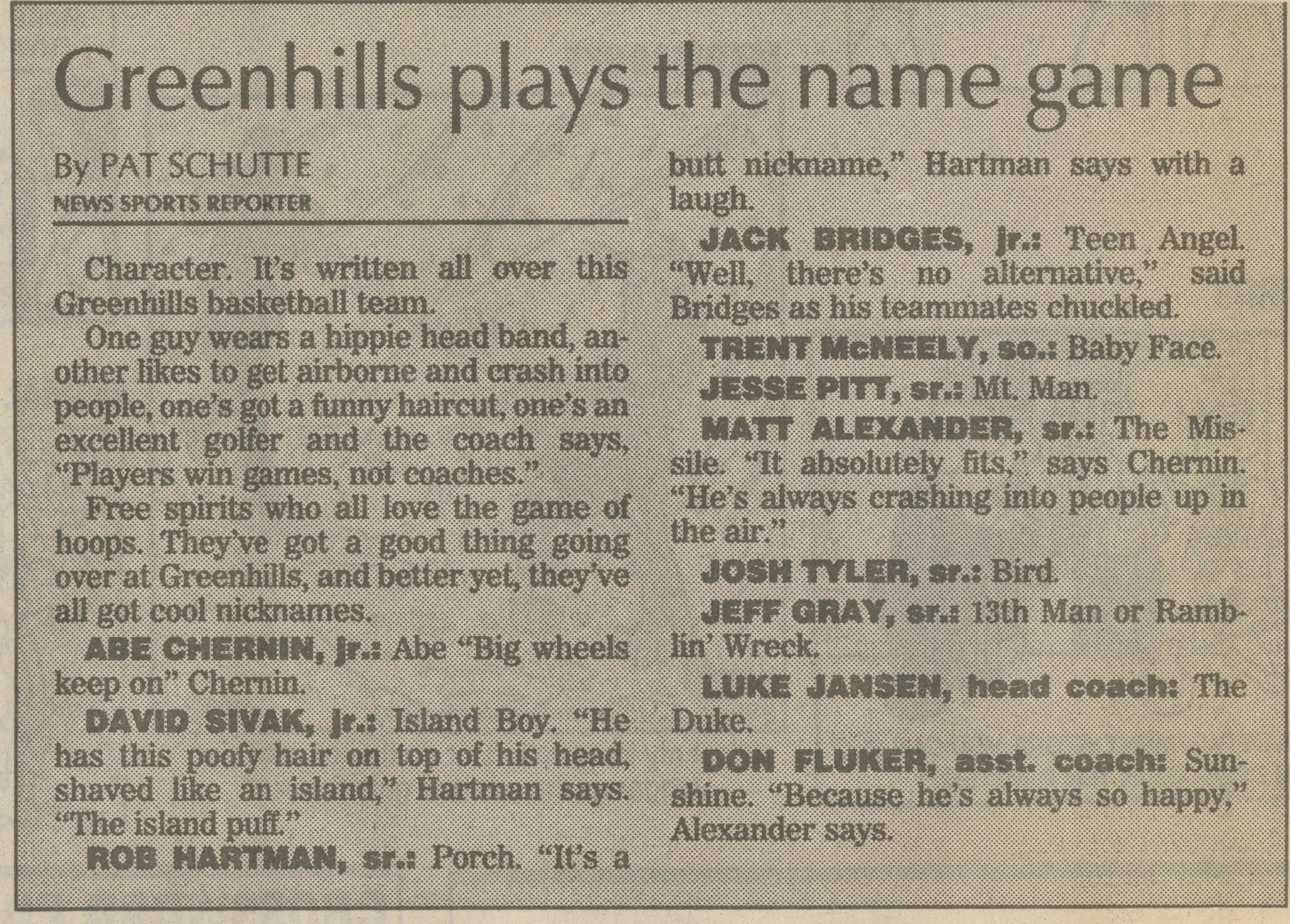 Greenhills Plays The Name Game image