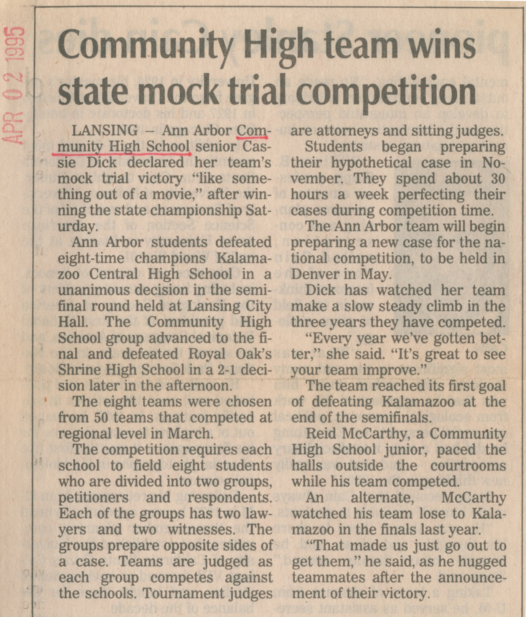Community High Team Wins State Mock Trial Competition image