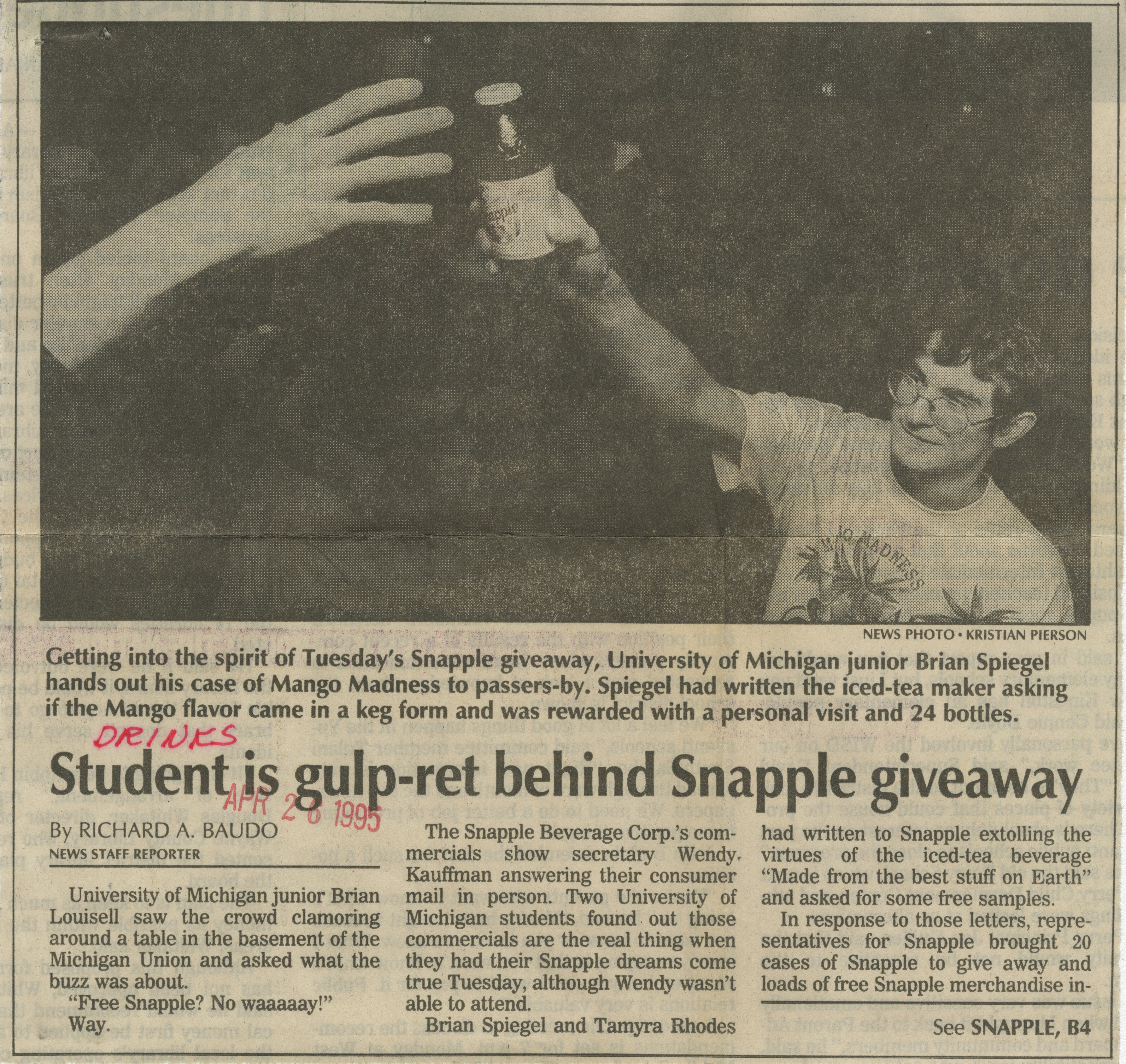 Student Is Gulp-Ret Behind Snapple Giveaway image