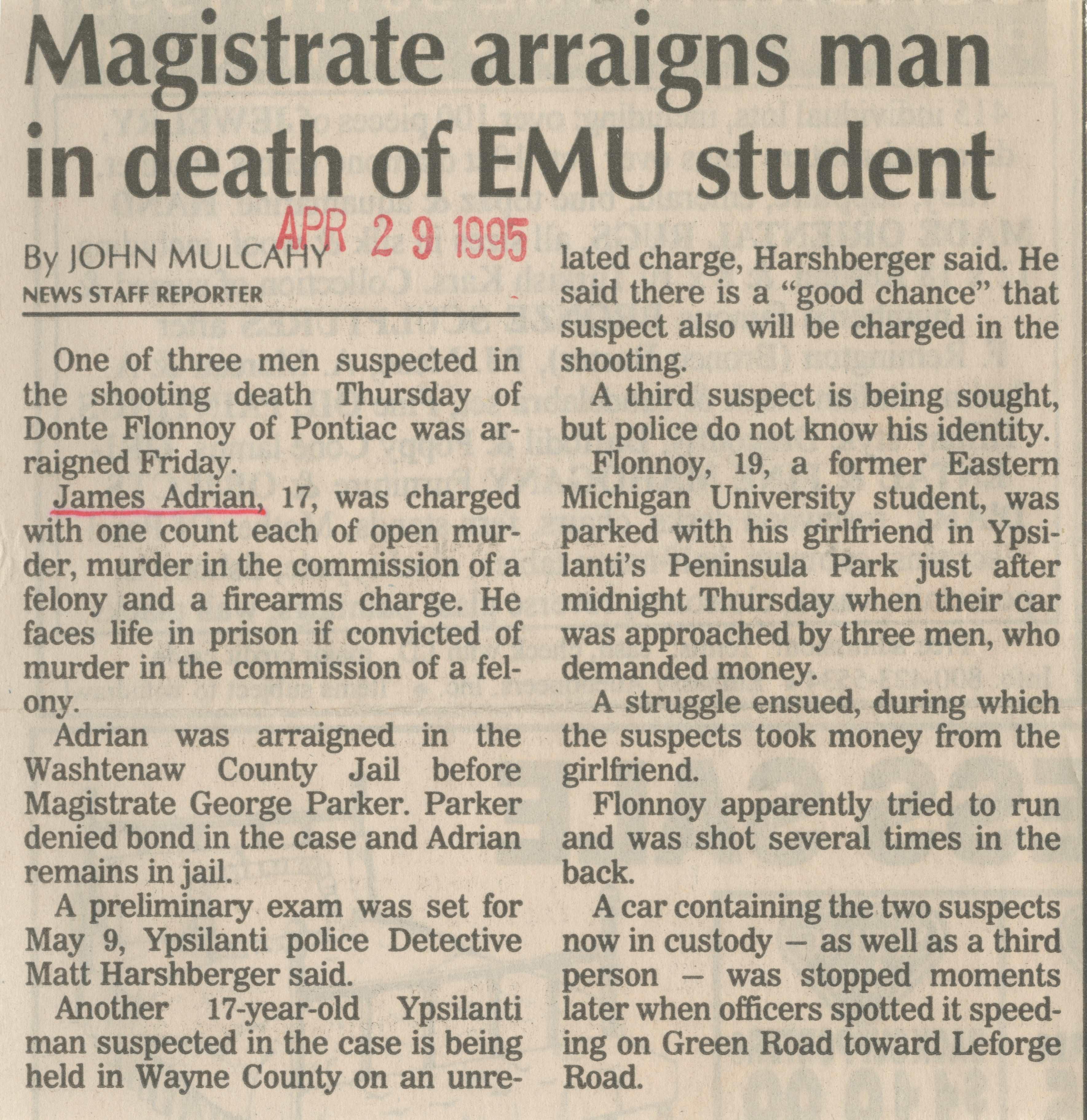 Magistrate arraigns man in death of EMU student image