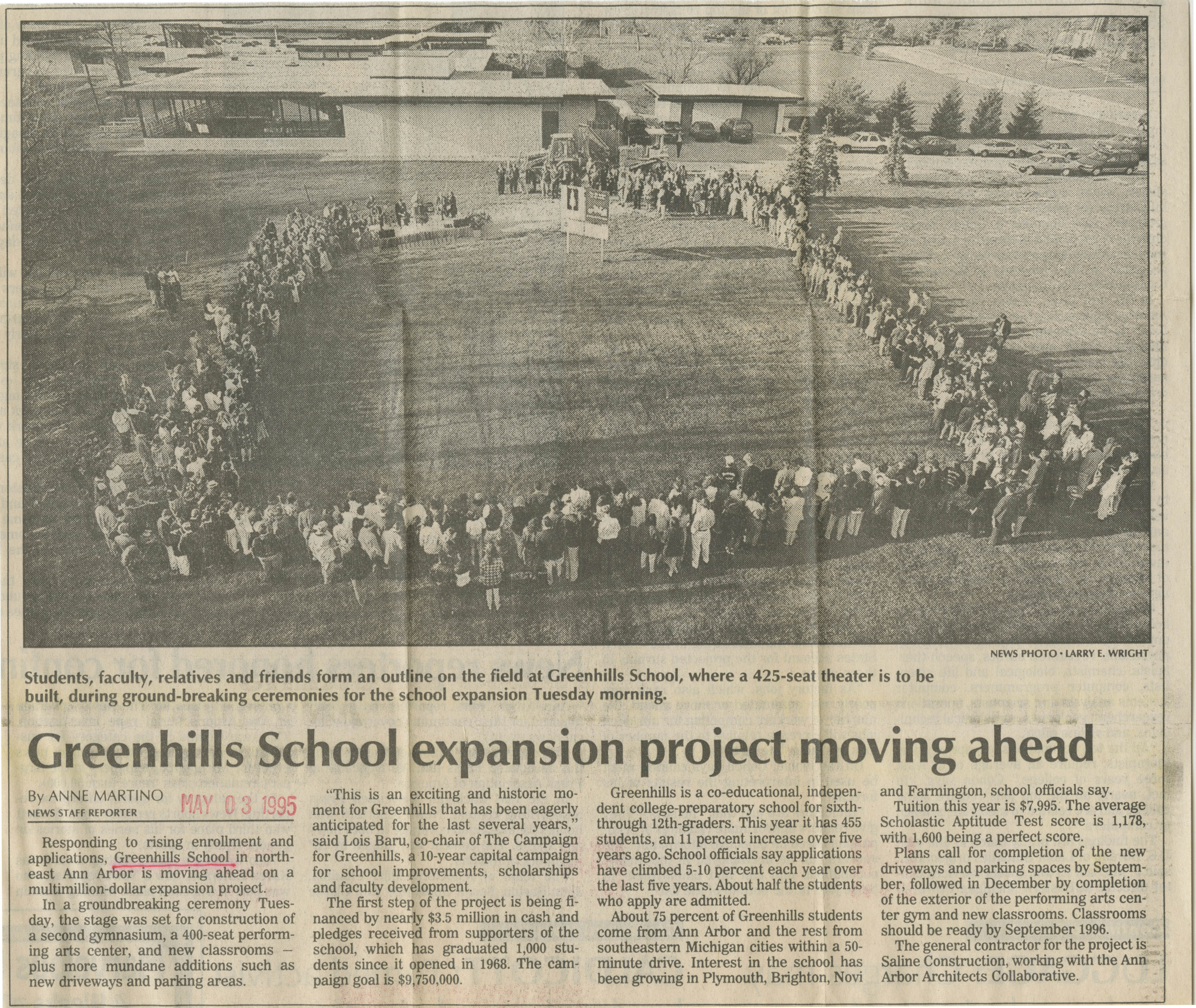 Greenhills School Expansion Project Moving Ahead image