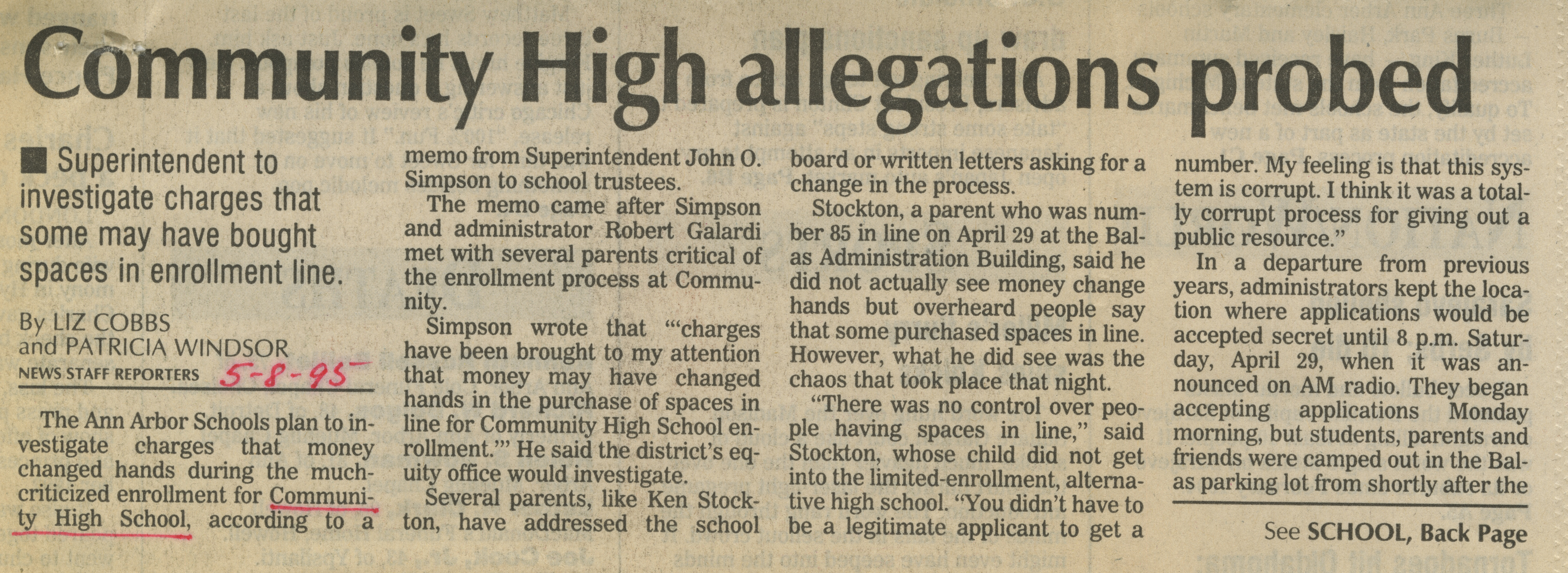 Community High allegations probed image