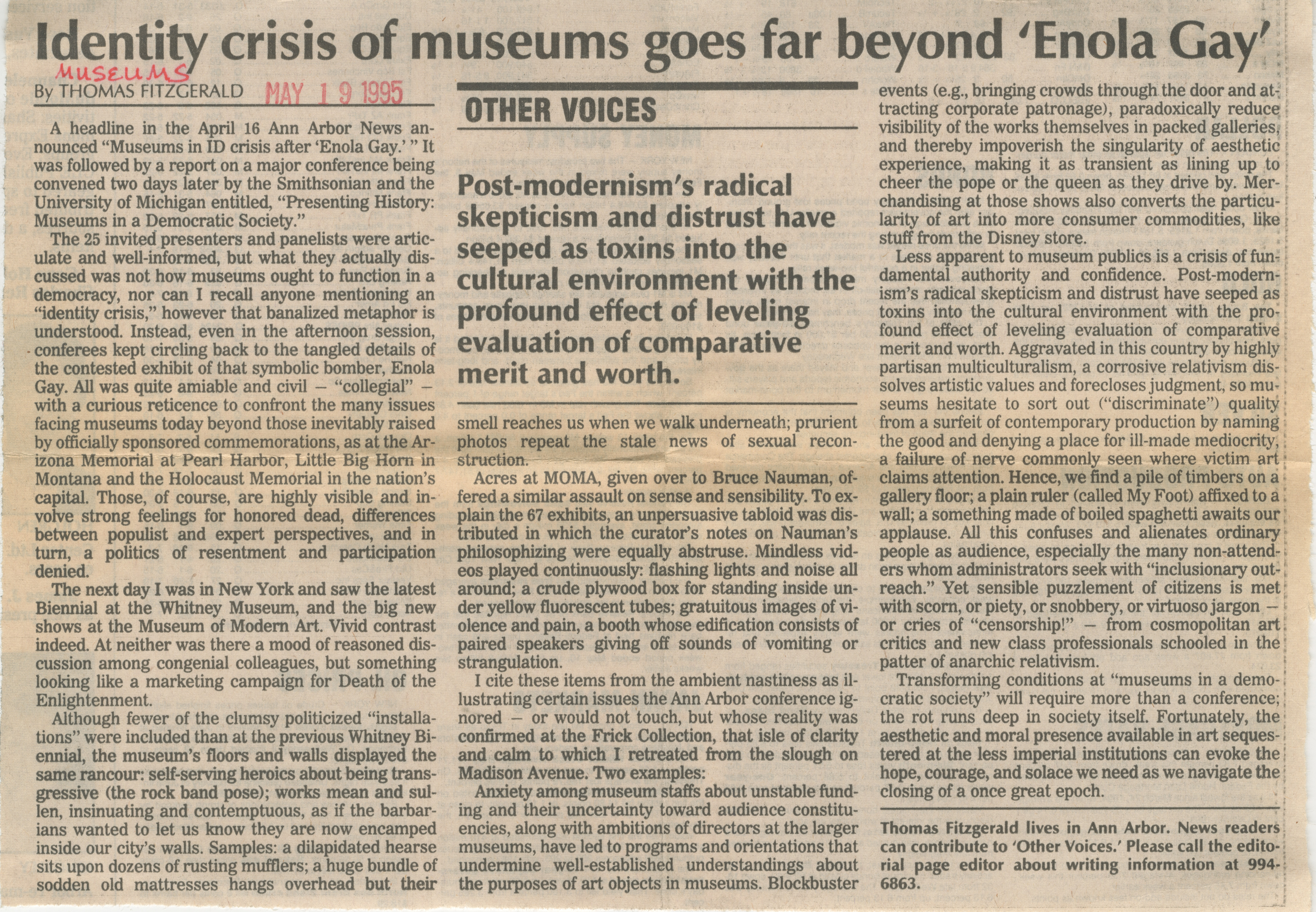 Identity Crisis Of Museums Goes Far Beyond 'Enola Gay' image