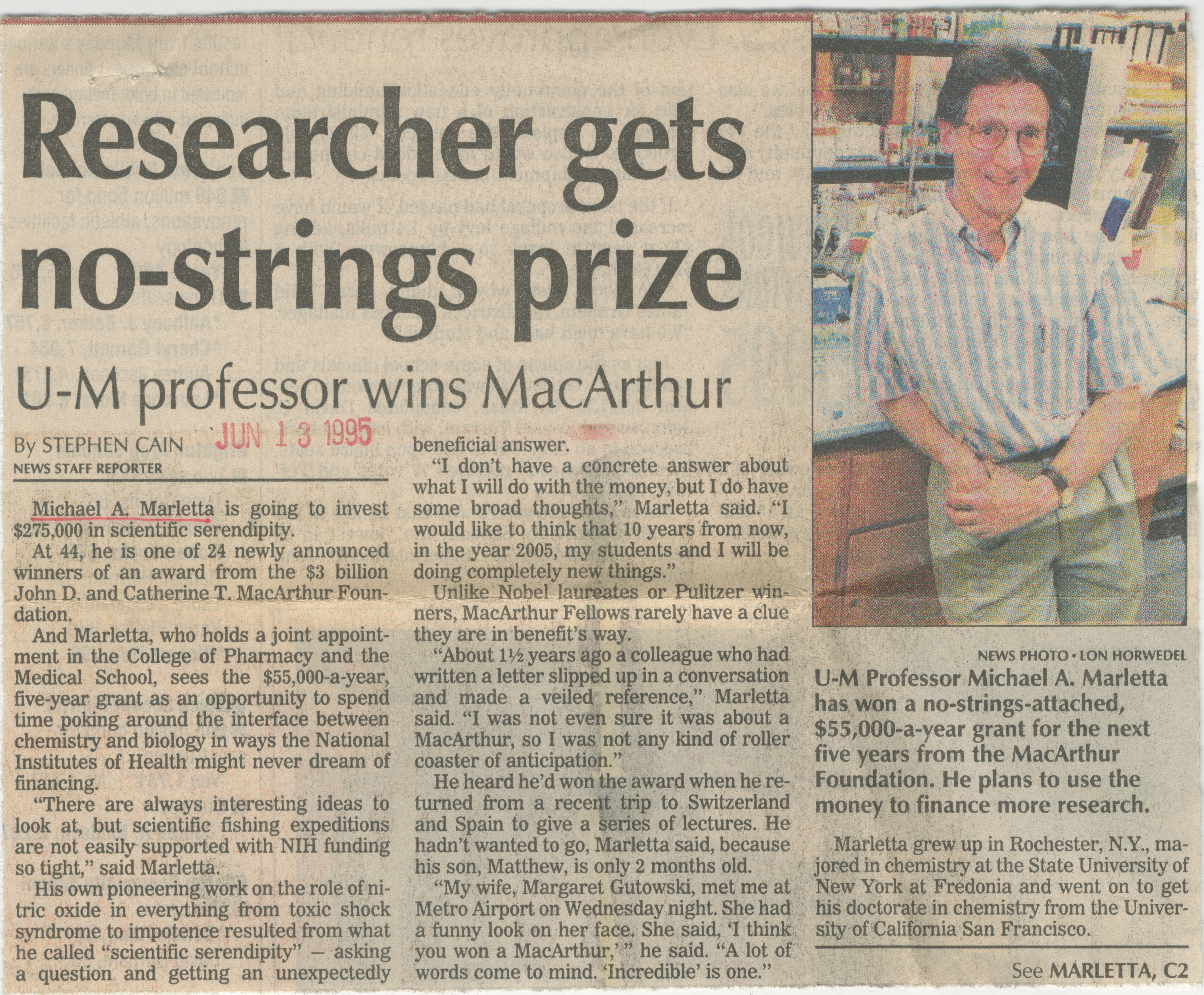 Researcher Gets No-String Prize image