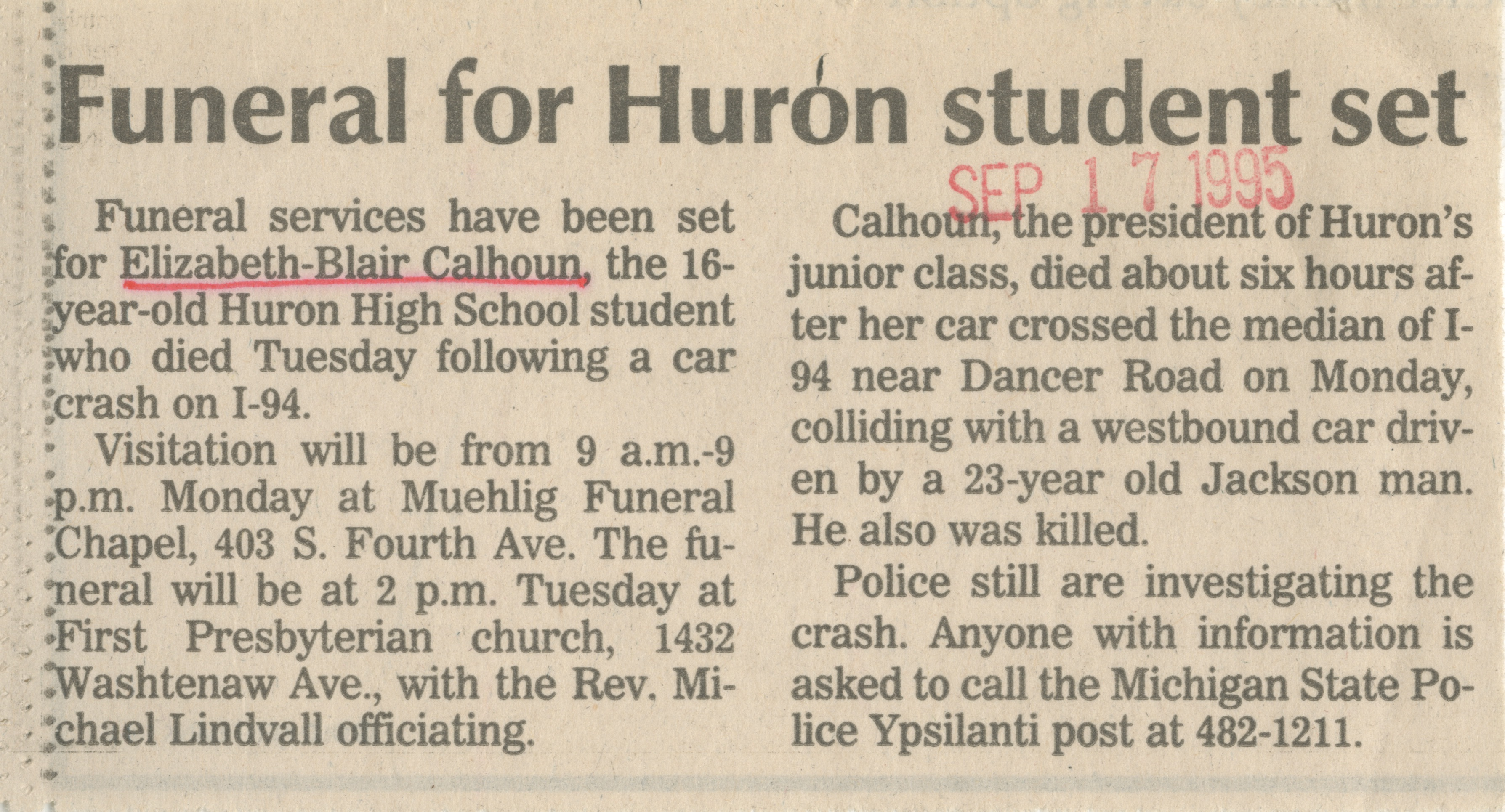 Funeral for Huron student set image