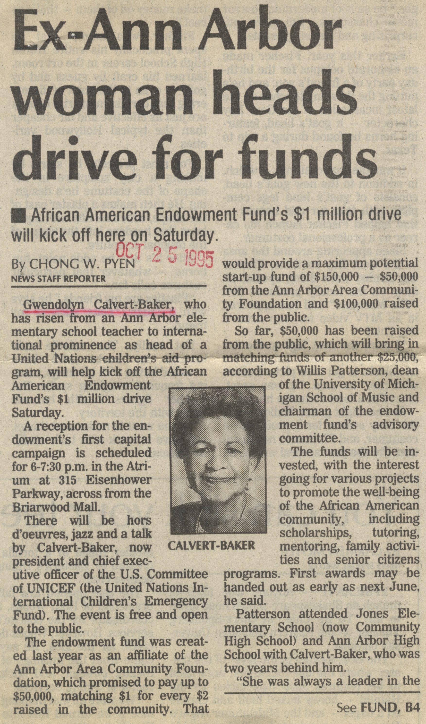 Ex-Ann Arbor Woman Heads Drive For Funds image