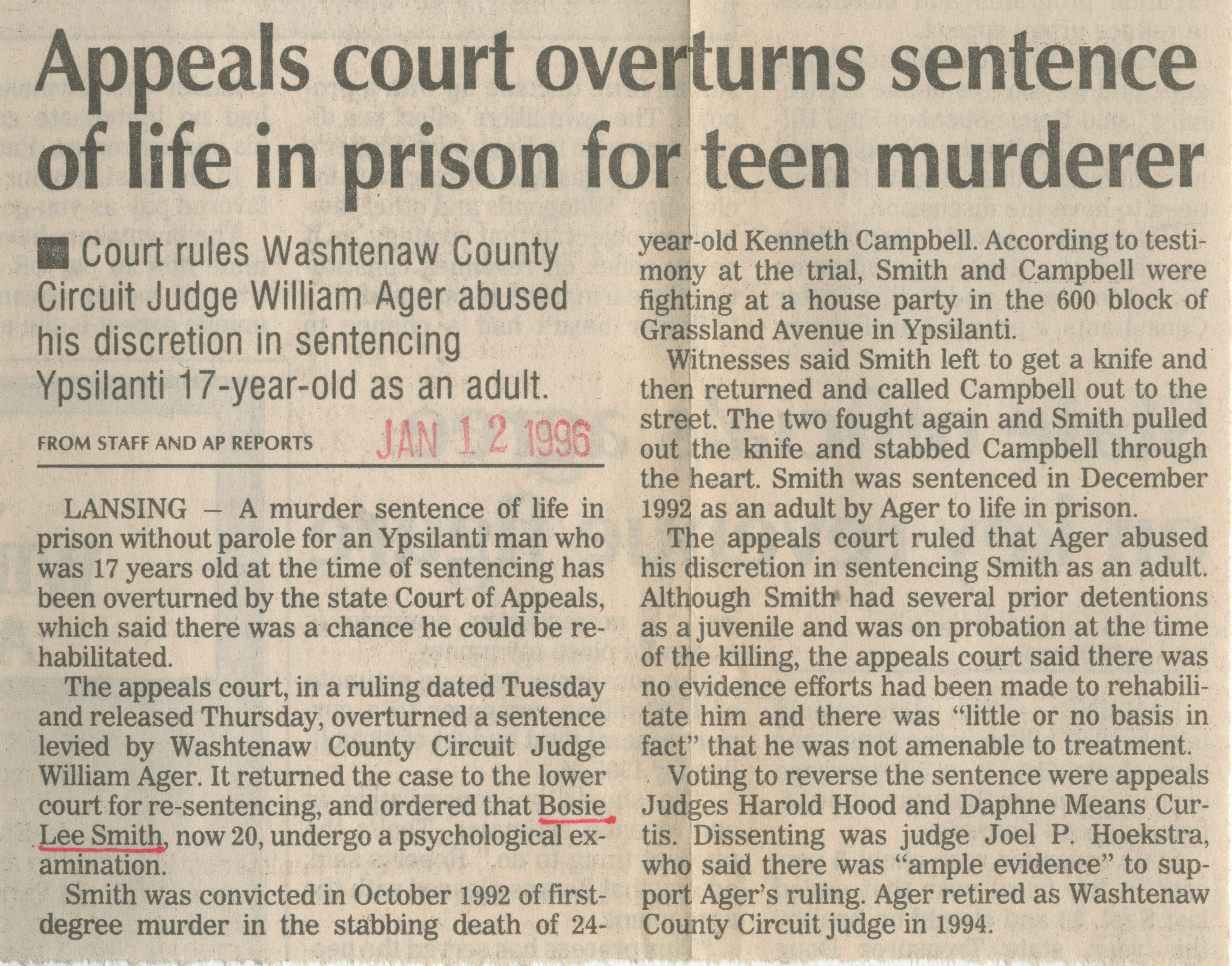 Appeals court overturns sentence of life in prison for teen murderer image