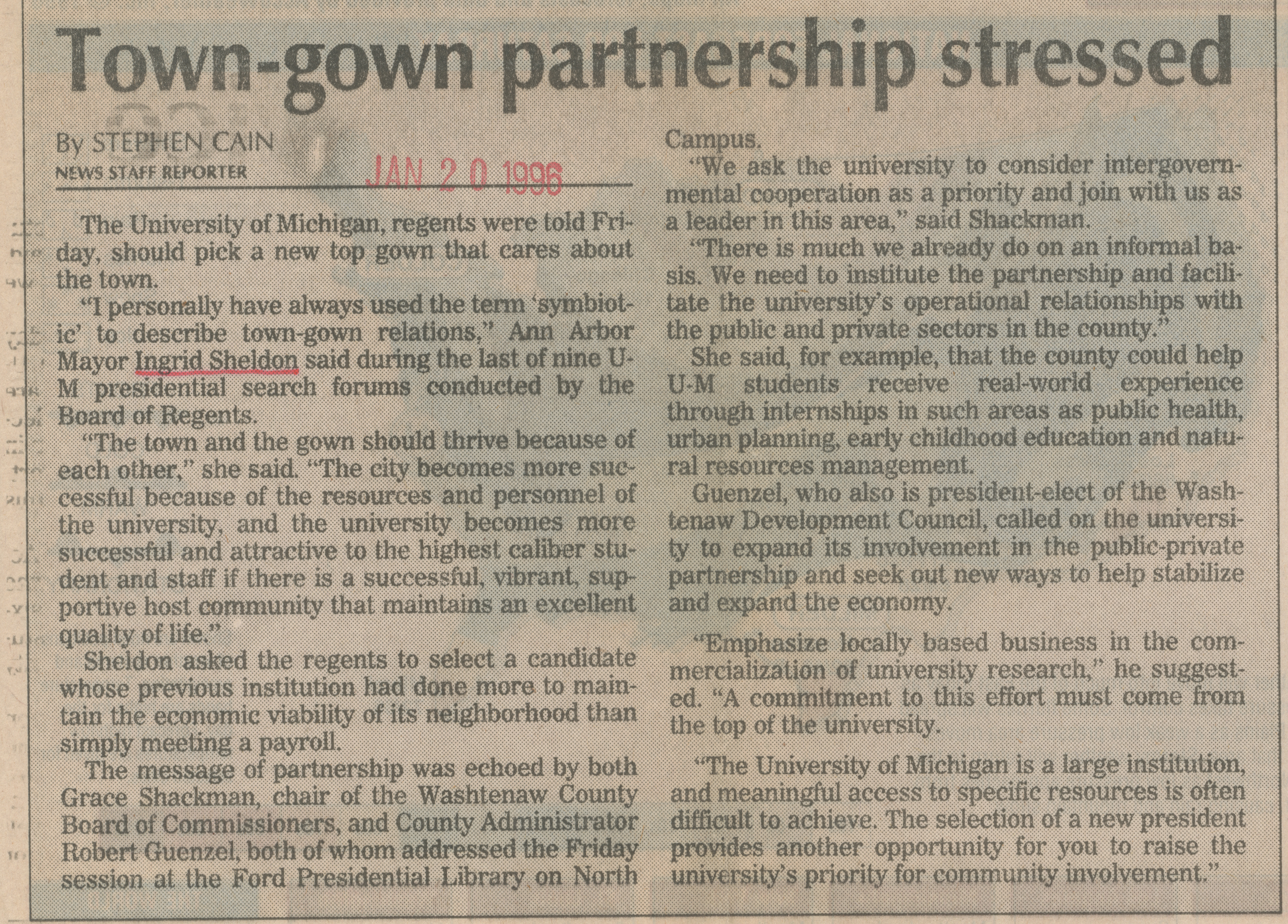 Town-gown partnership stressed  image