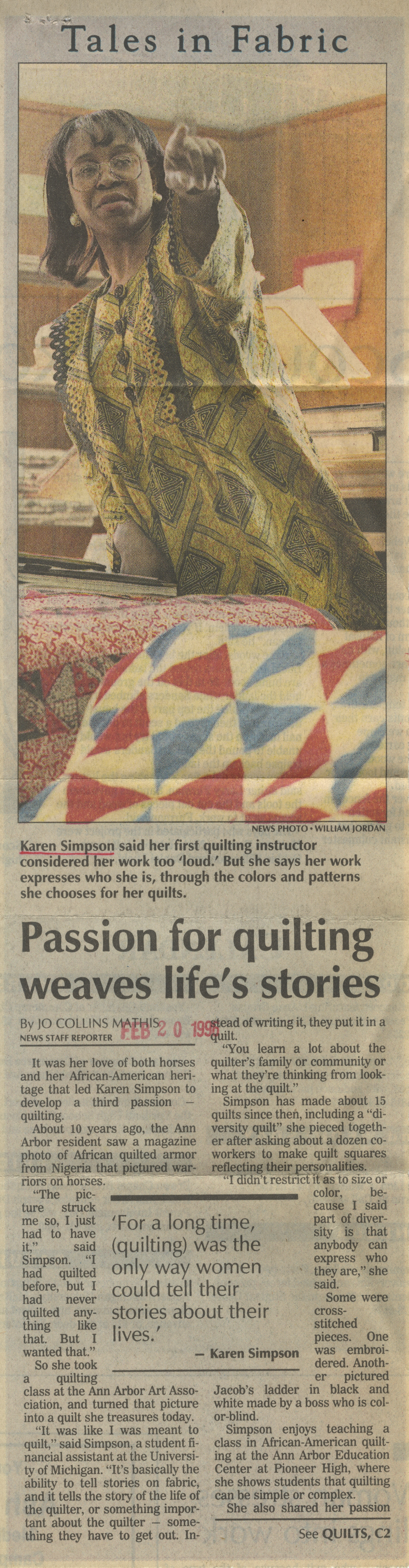 Passion For Quilting Weaves Life's Stories image