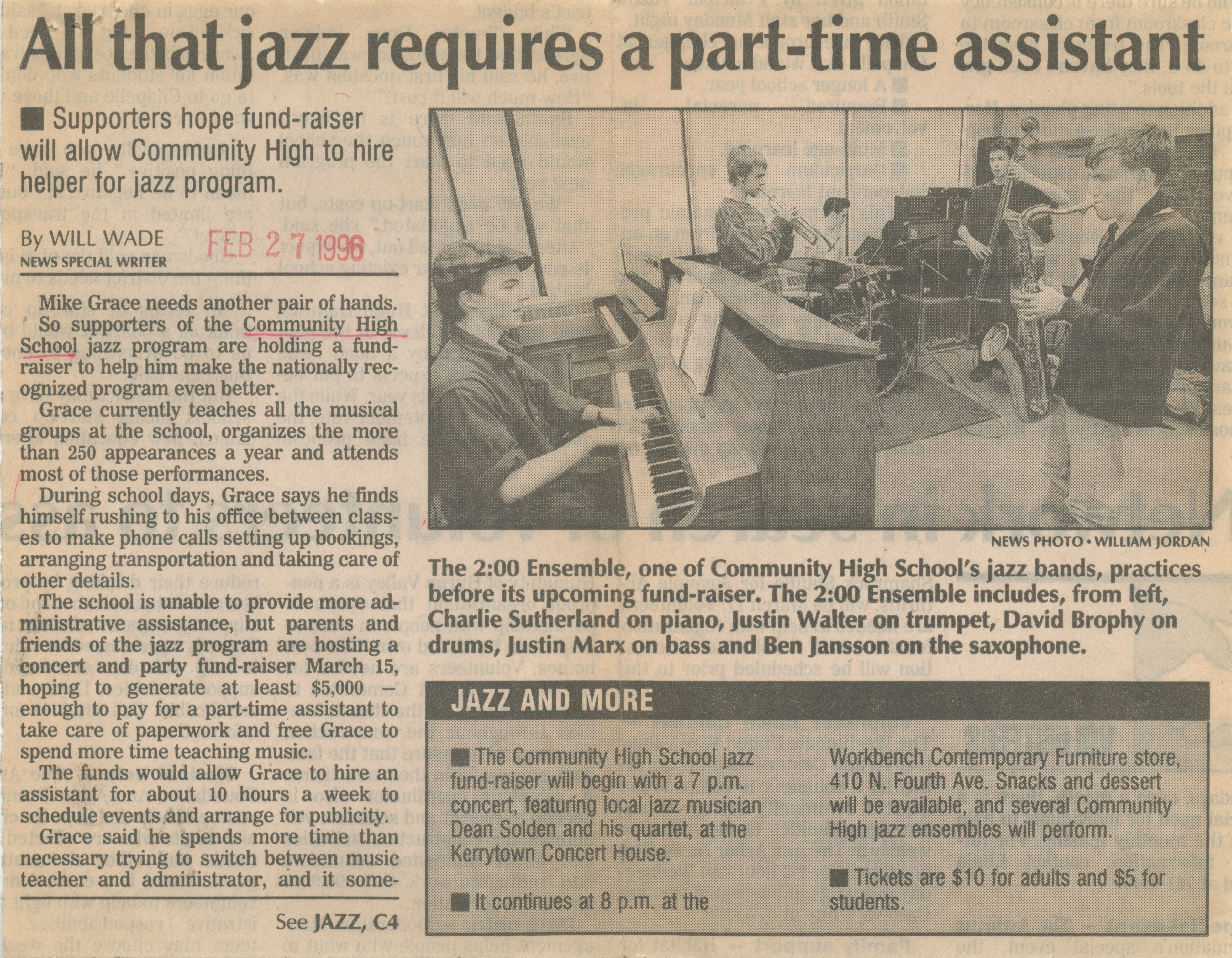 All that jazz requires a part-time assistant image