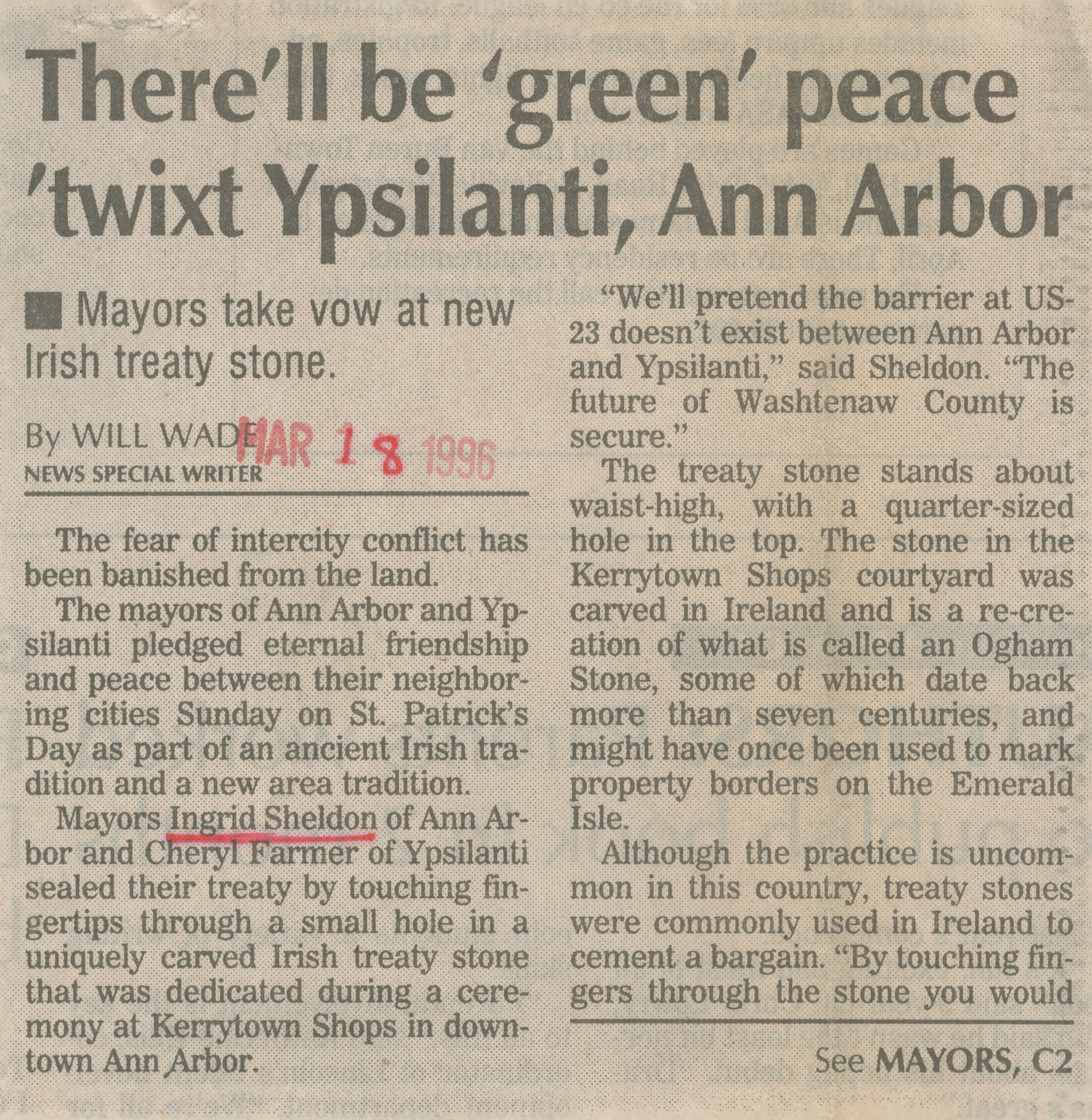 There'll be 'green' peace 'twixt Ypsilanti, Ann Arbor image