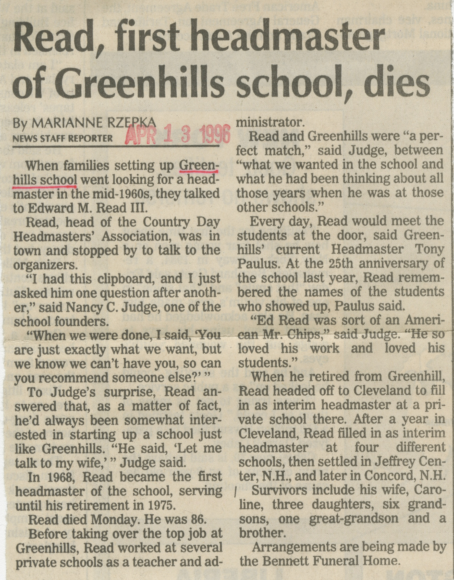 Read, First Headmaster Of Greenhills School, Dies image