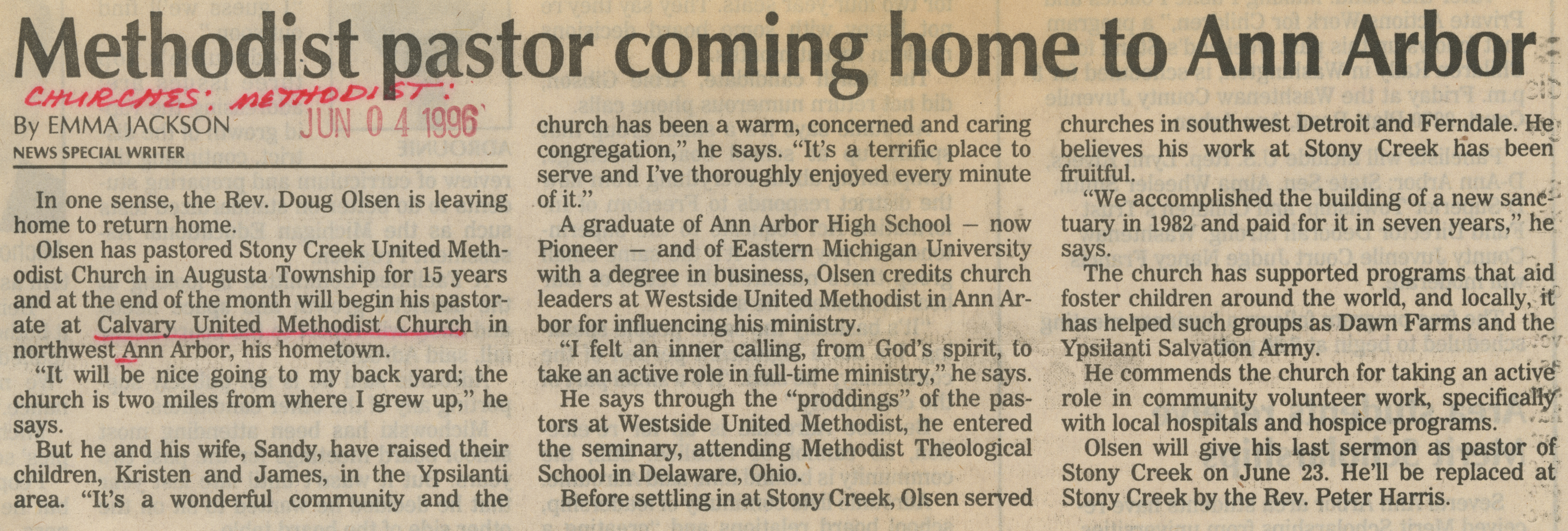 Methodist pastor coming home to Ann Arbor image