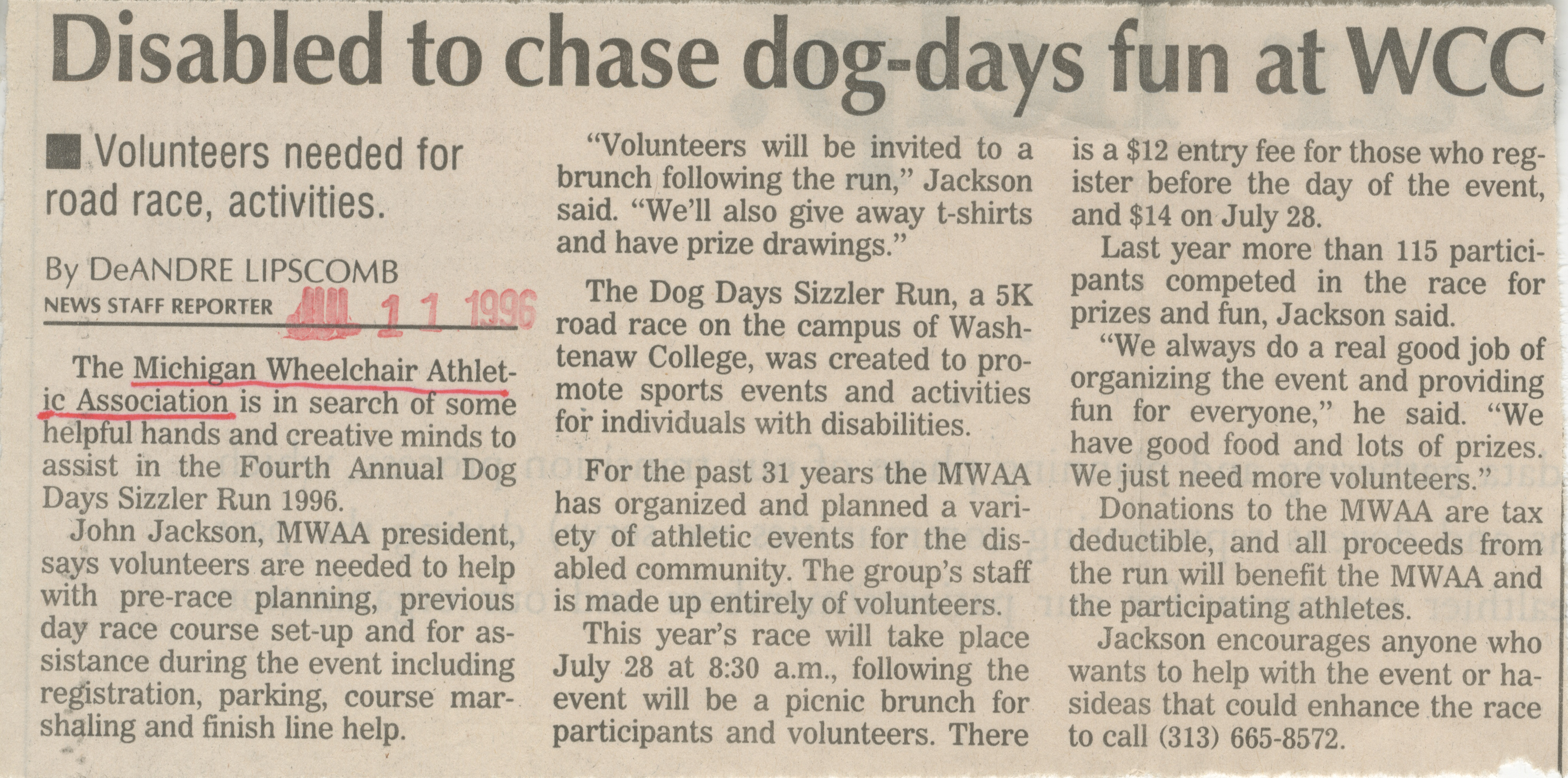 Disabled To Chase Dog-Days Fun At WCC image