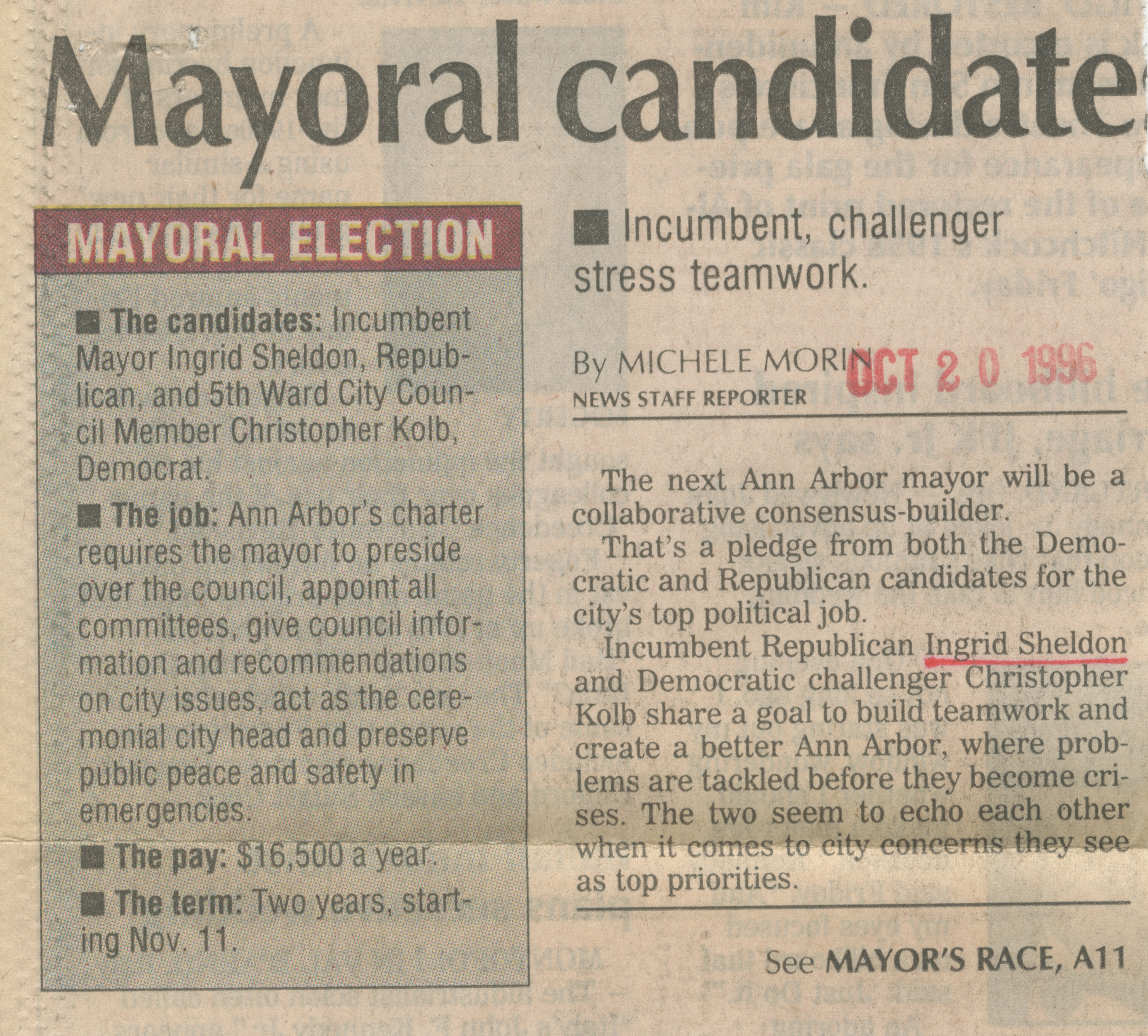 Mayoral candidates differ on approach to same goals image