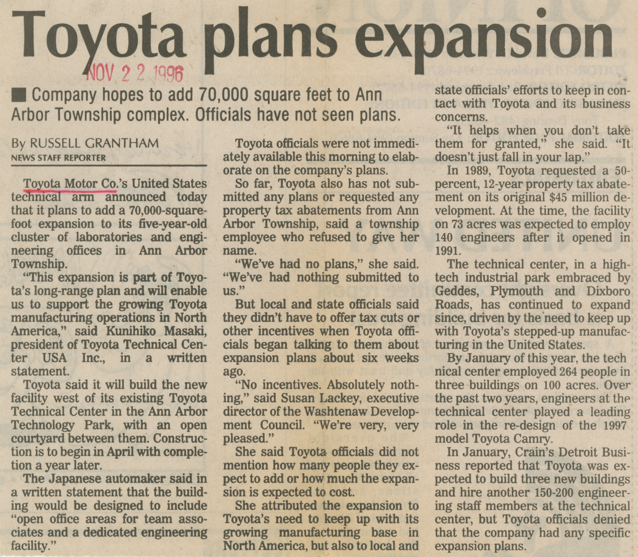 Toyota Plans Expansion image