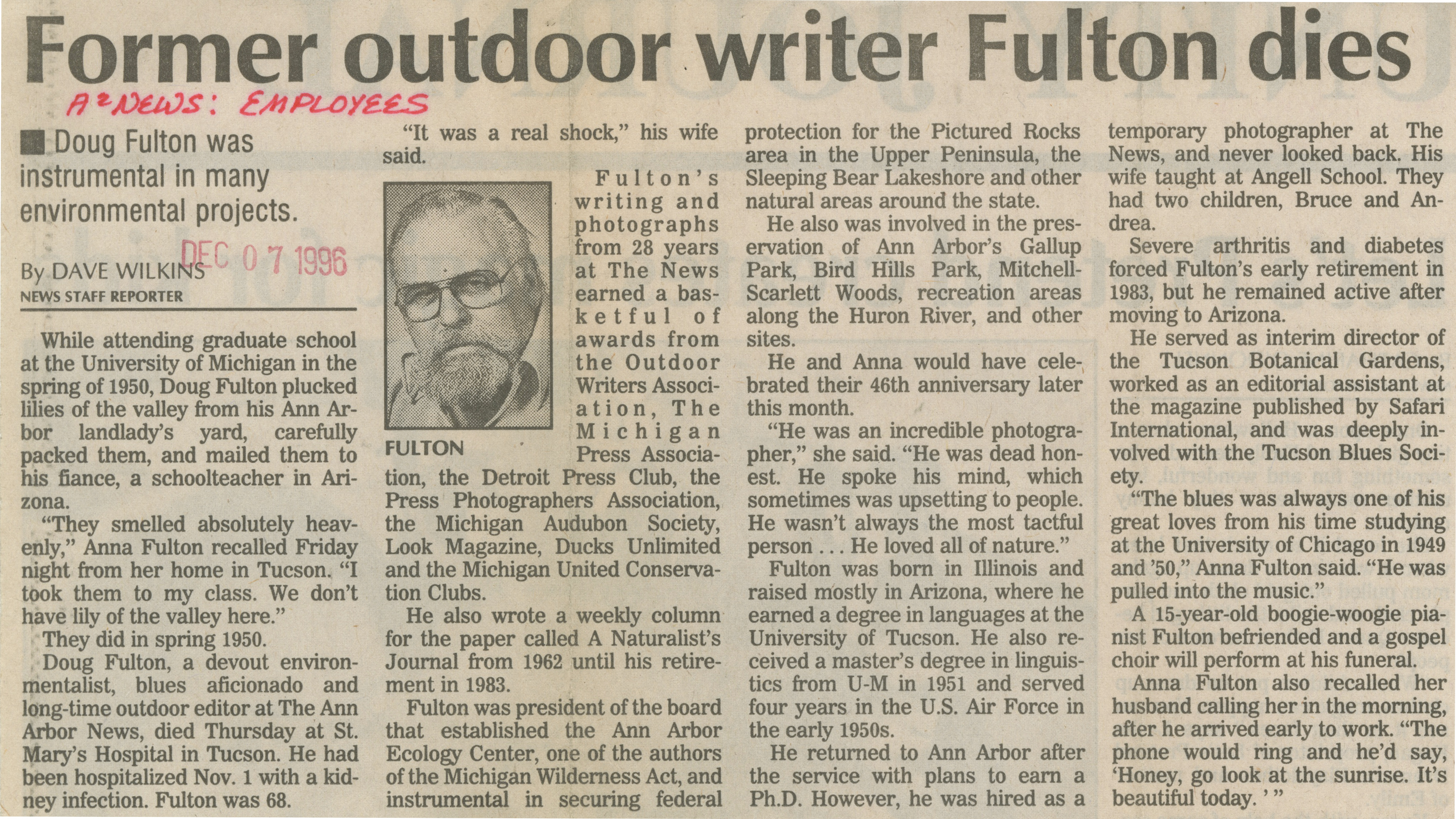 Former Outdoor Writer Fulton Dies image