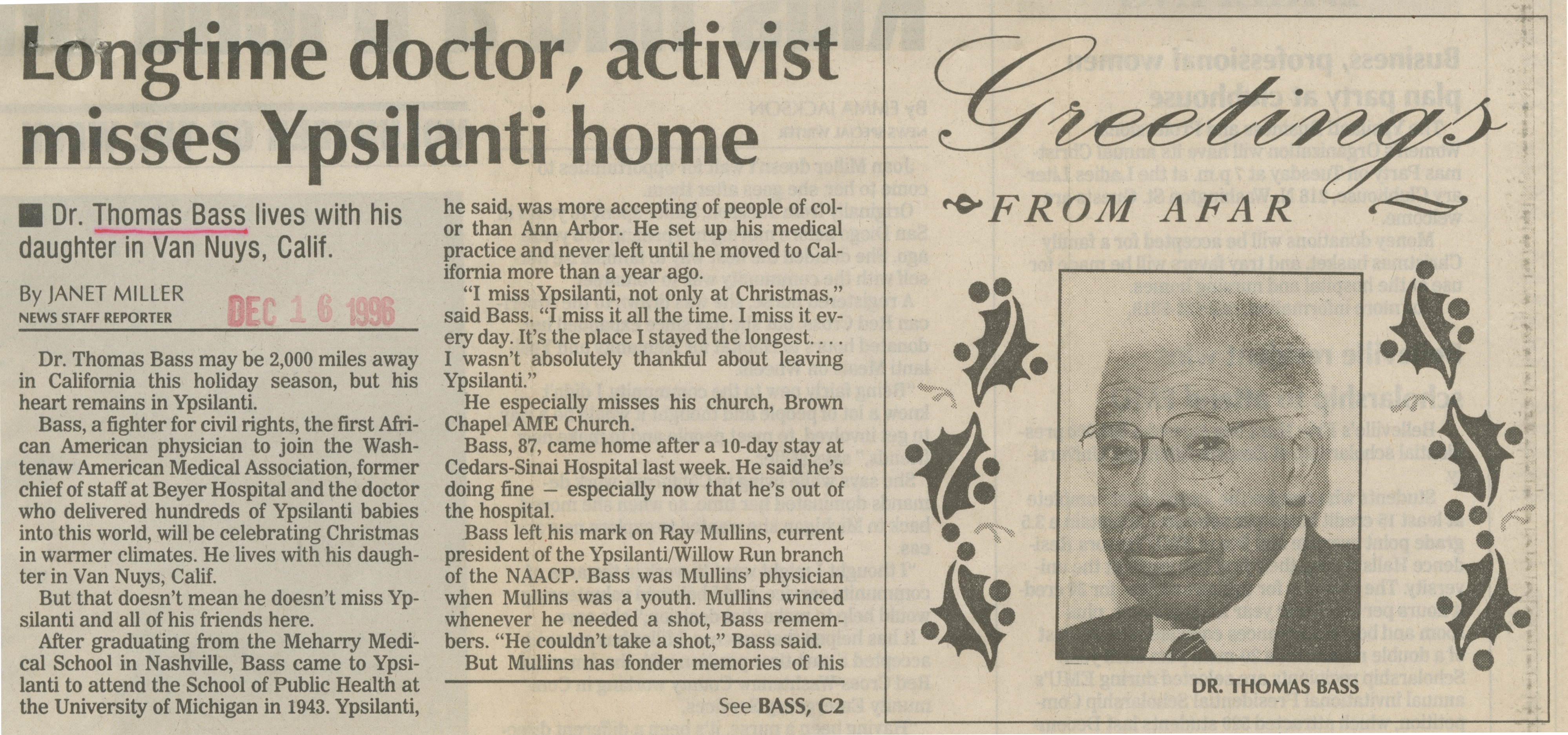 Longtime doctor, activist misses Ypsilanti home image