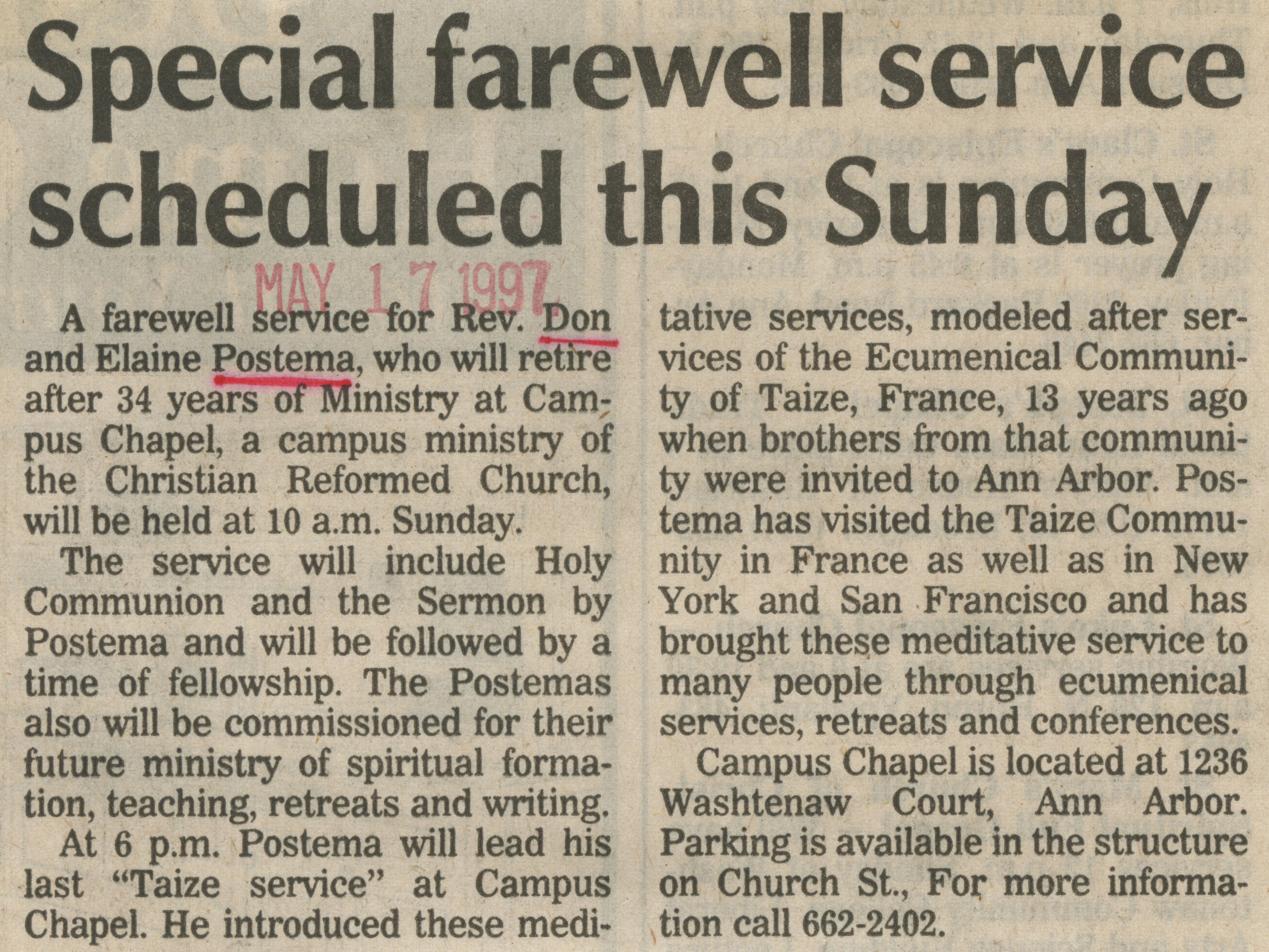 Special farewell service scheduled this Sunday image