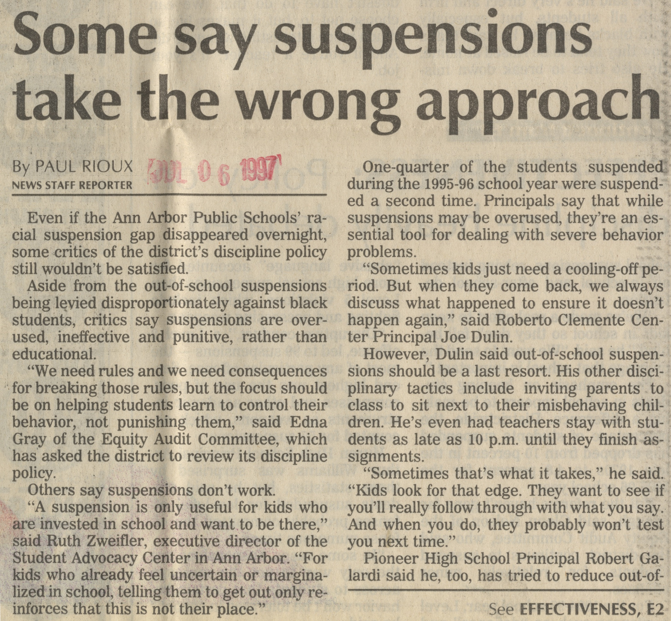 Some Say Suspensions Take The Wrong Approach image