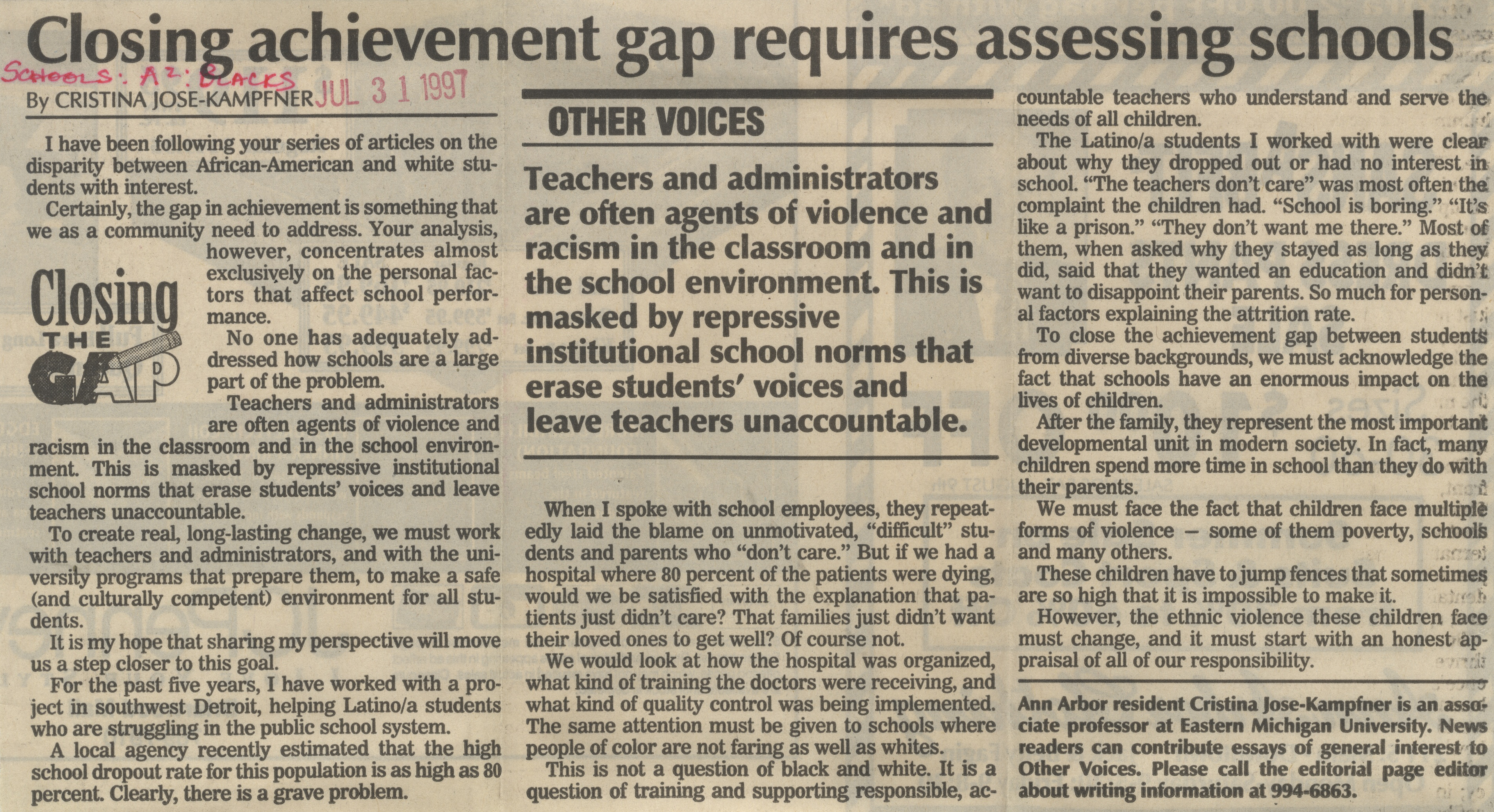Closing Achievement Gap Requires Assessing Schools image
