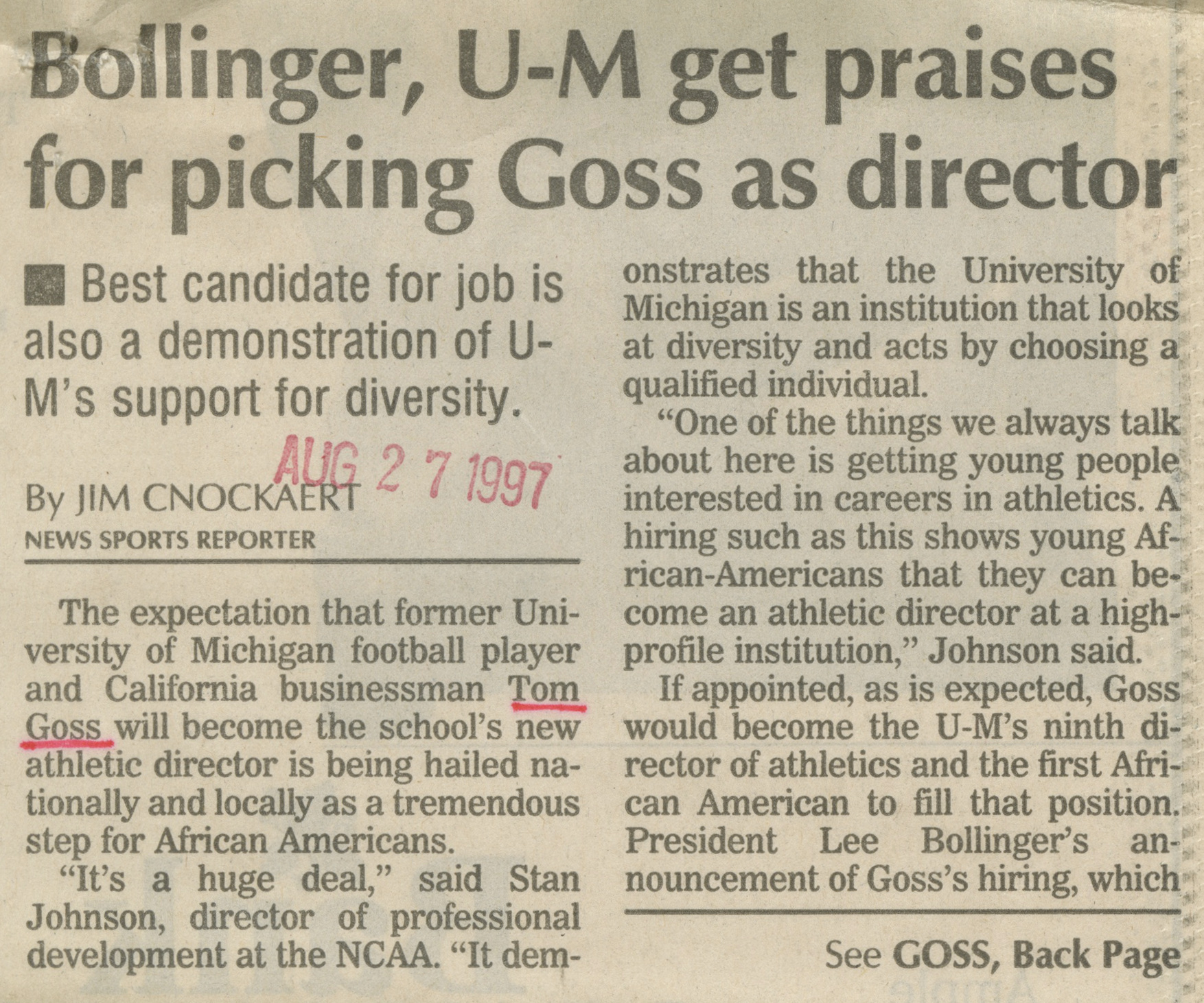 Bollinger, U-M get praises for picking Goss as director image