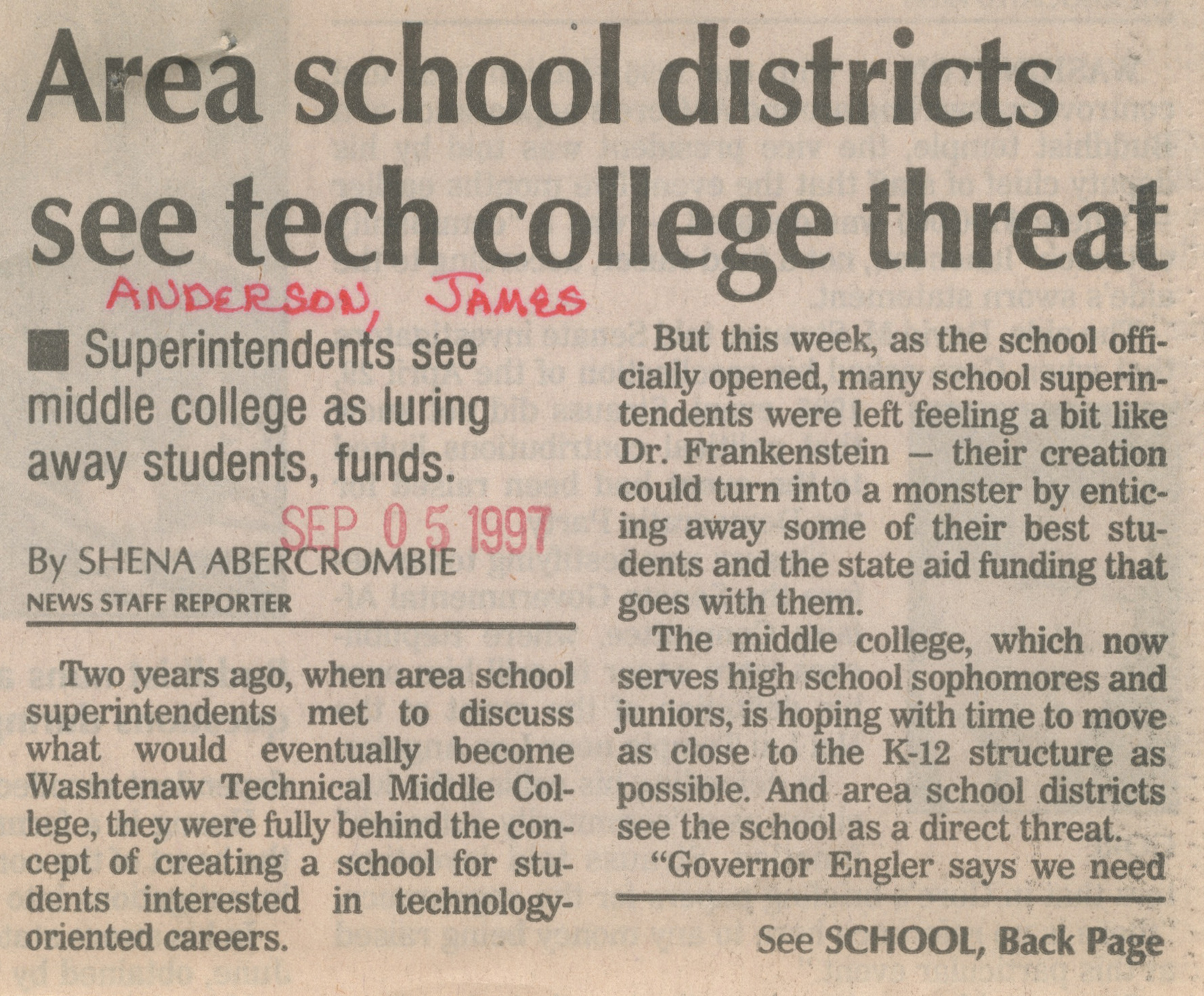 Area School Districts See Tech College Threat image