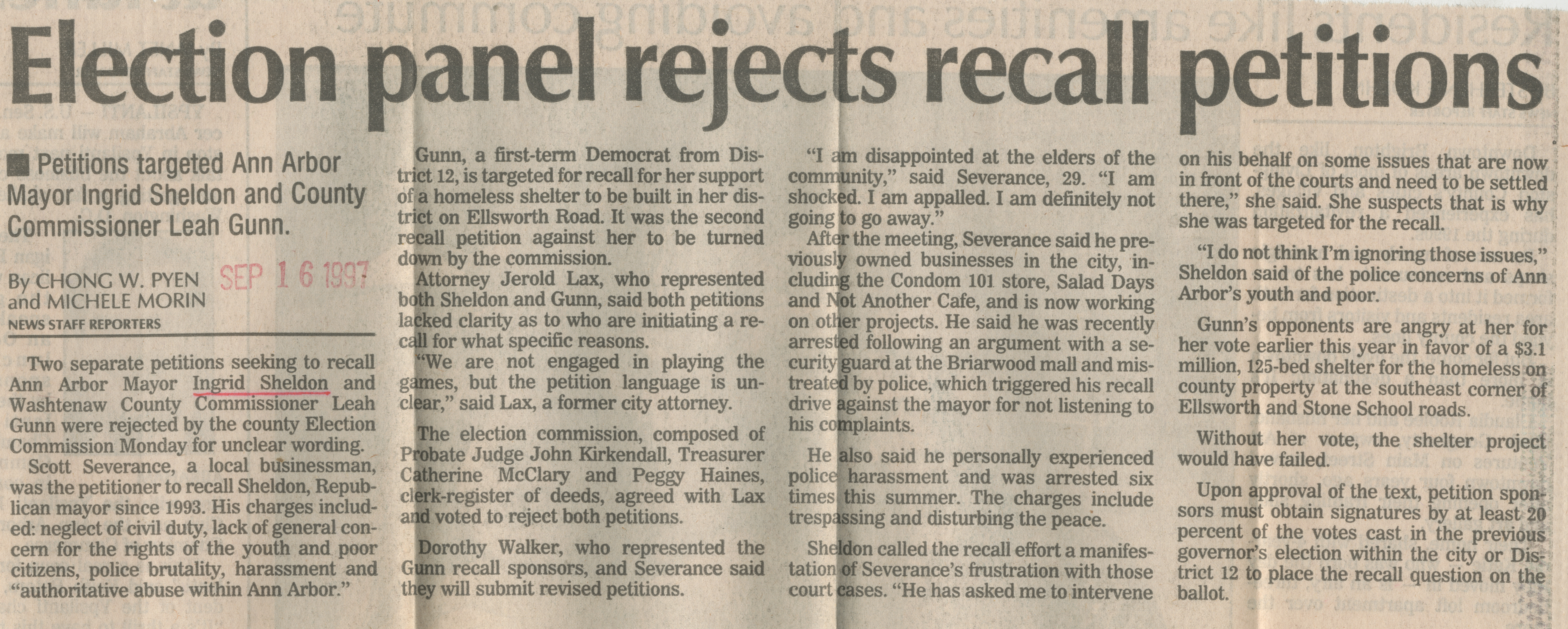 Election panel rejects recall petitions image