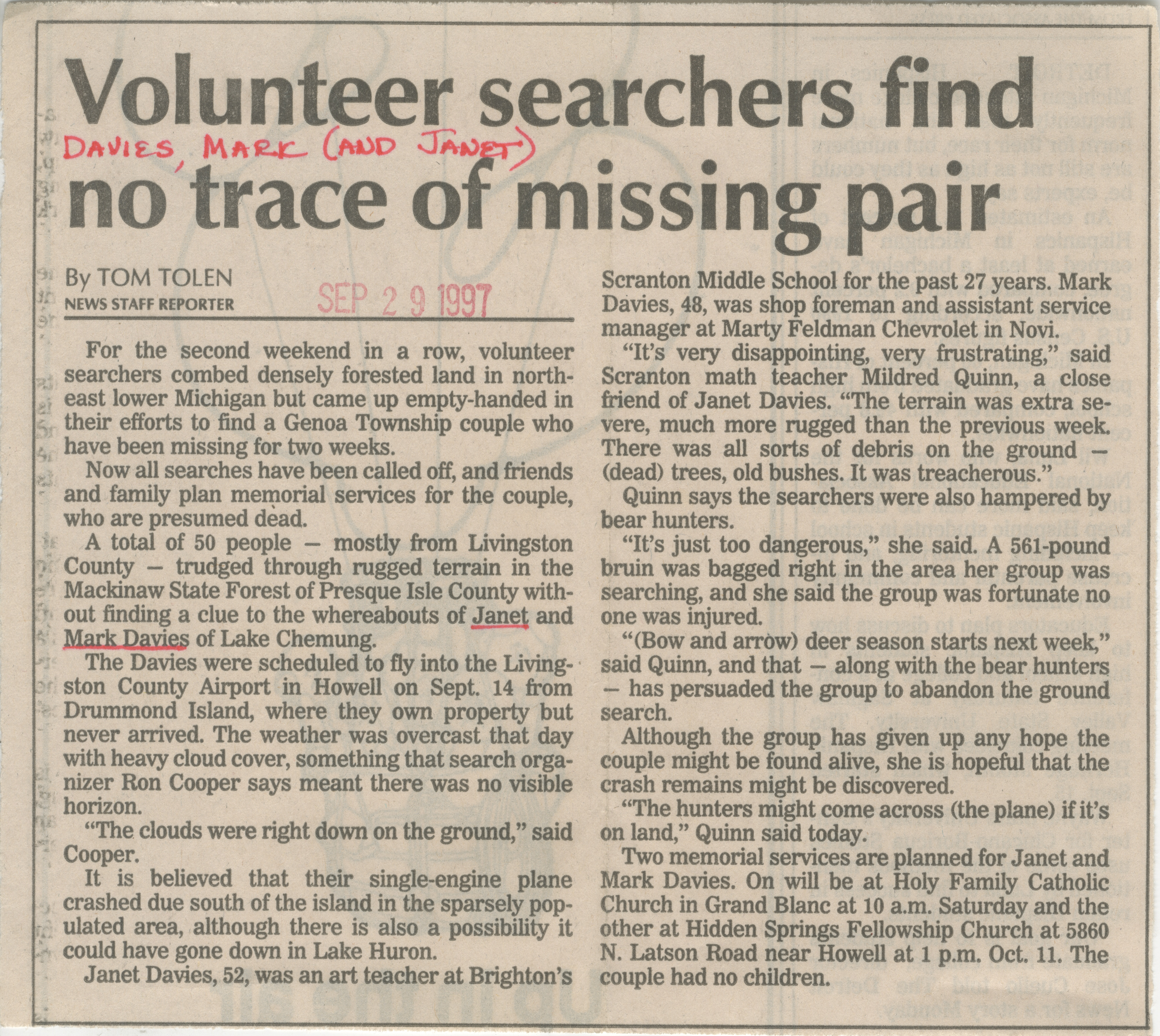 Volunteer Searchers Find No Trace Of Missing Pair  image