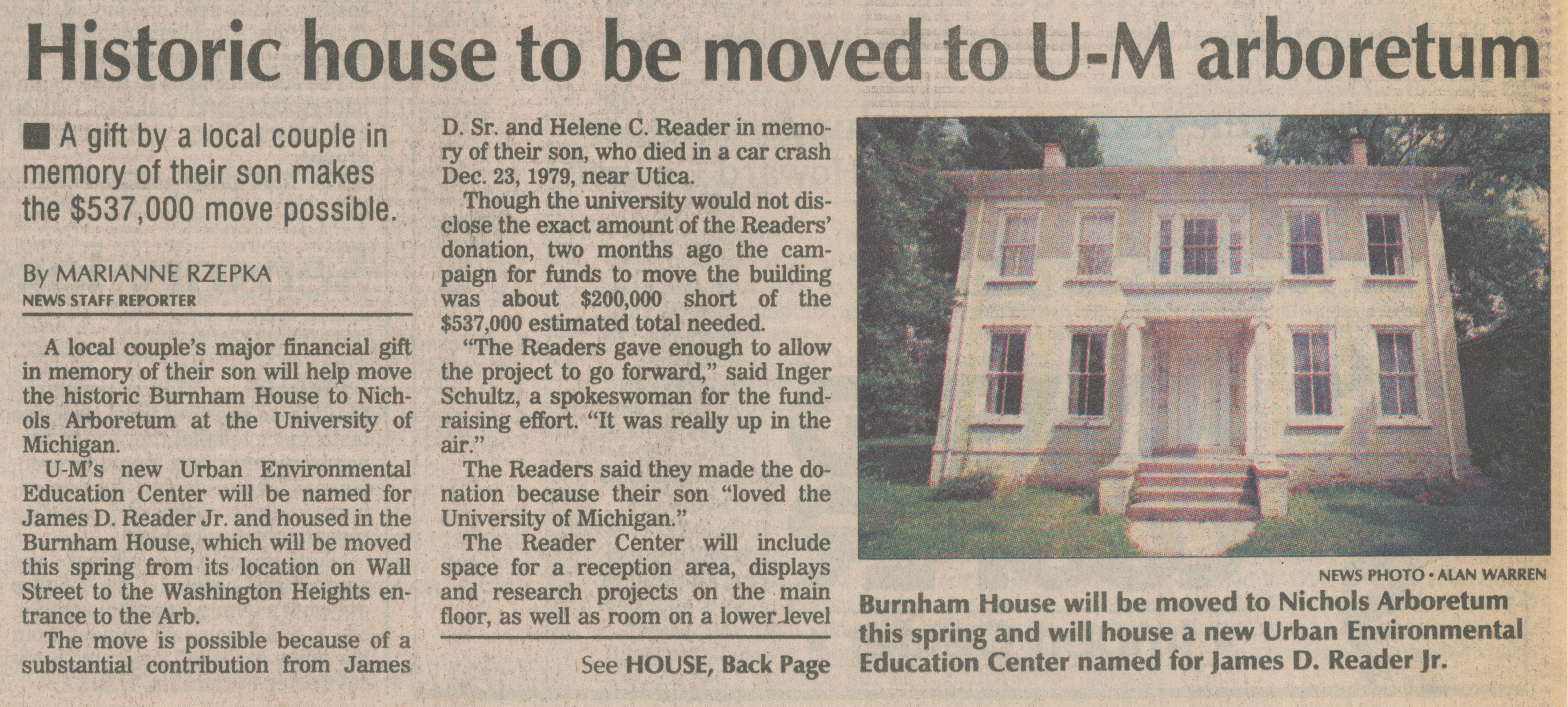 Historic house to be moved to U-M arboretum image