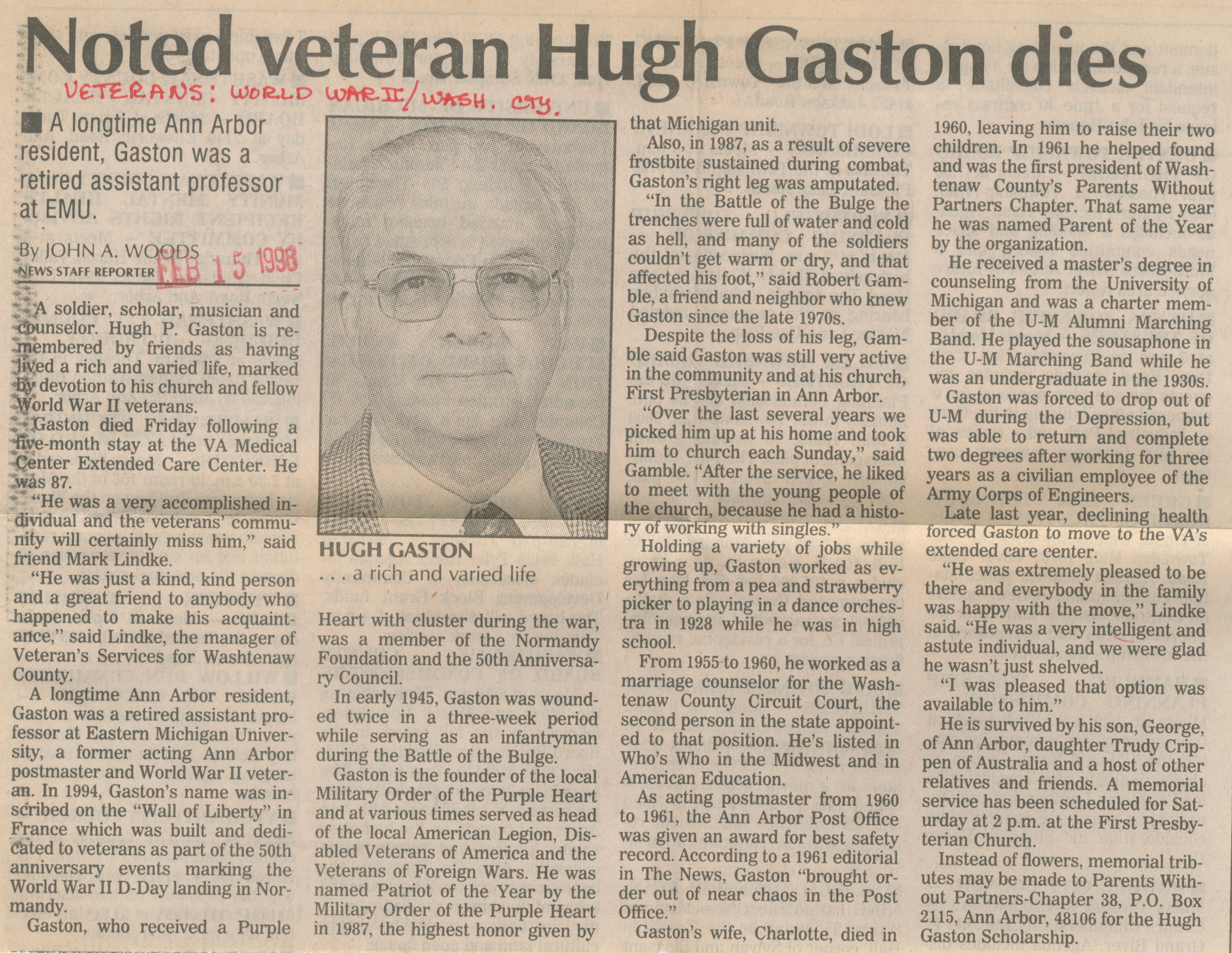 Noted veteran Hugh Gaston dies  image