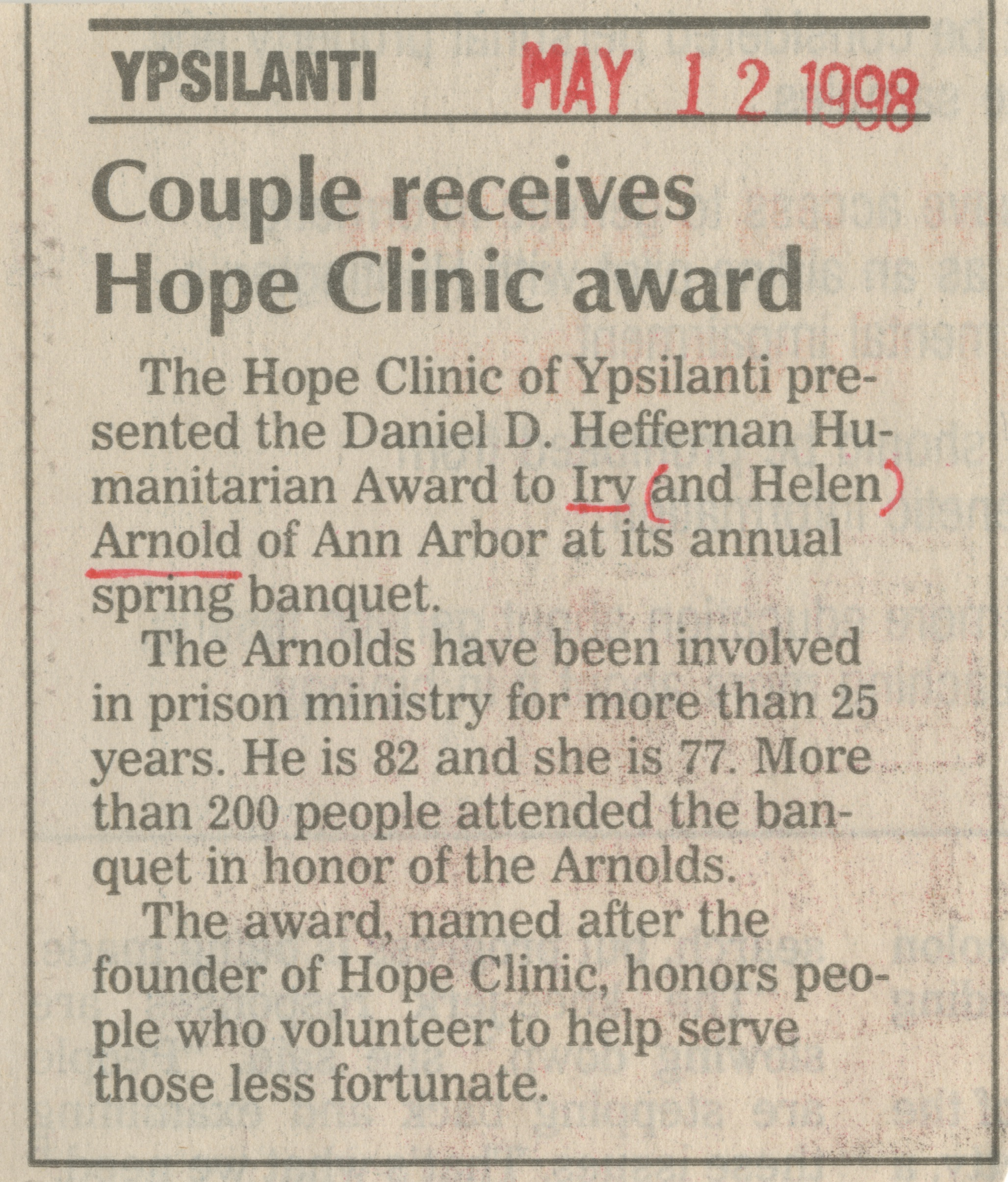 Couple receives Hope Clinic award image