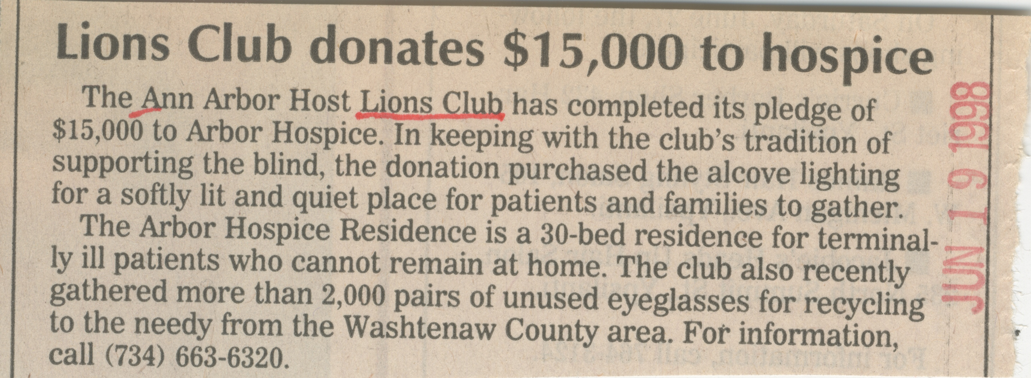 Lions Club Donates $15,000 To Hospice image