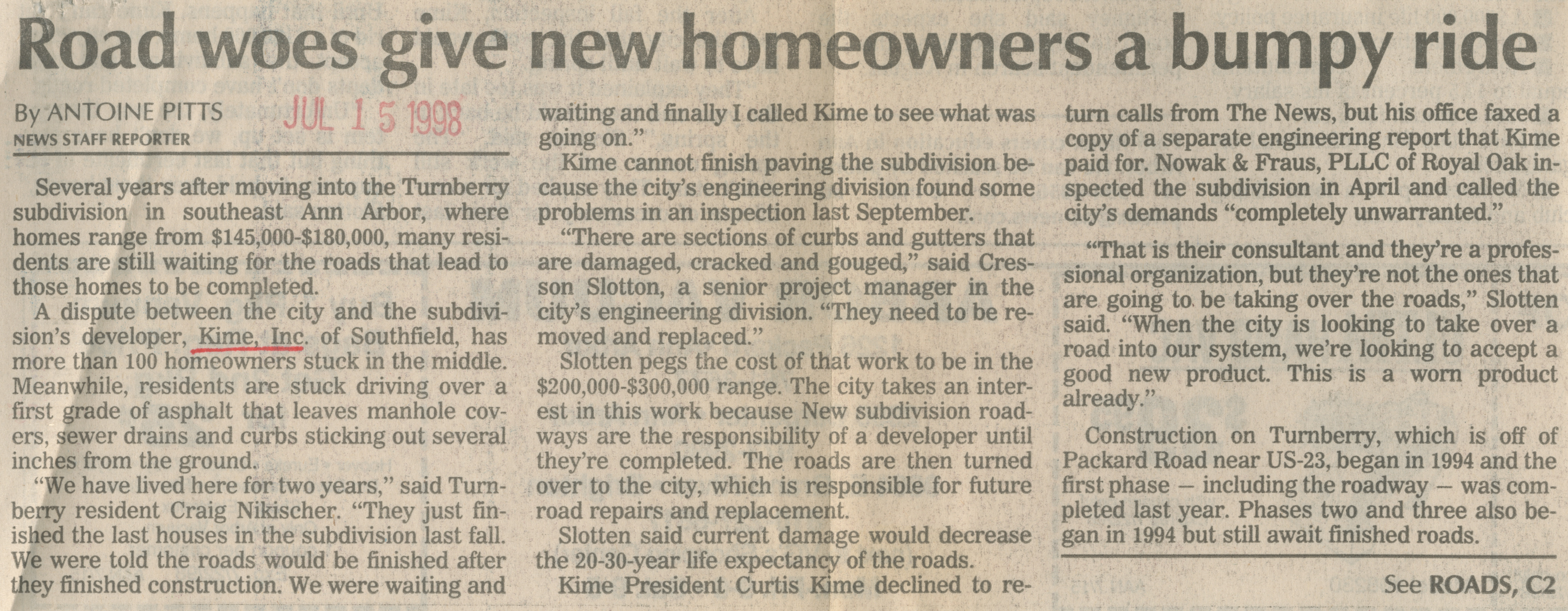 Road woes give new homeowners a bumpy ride image